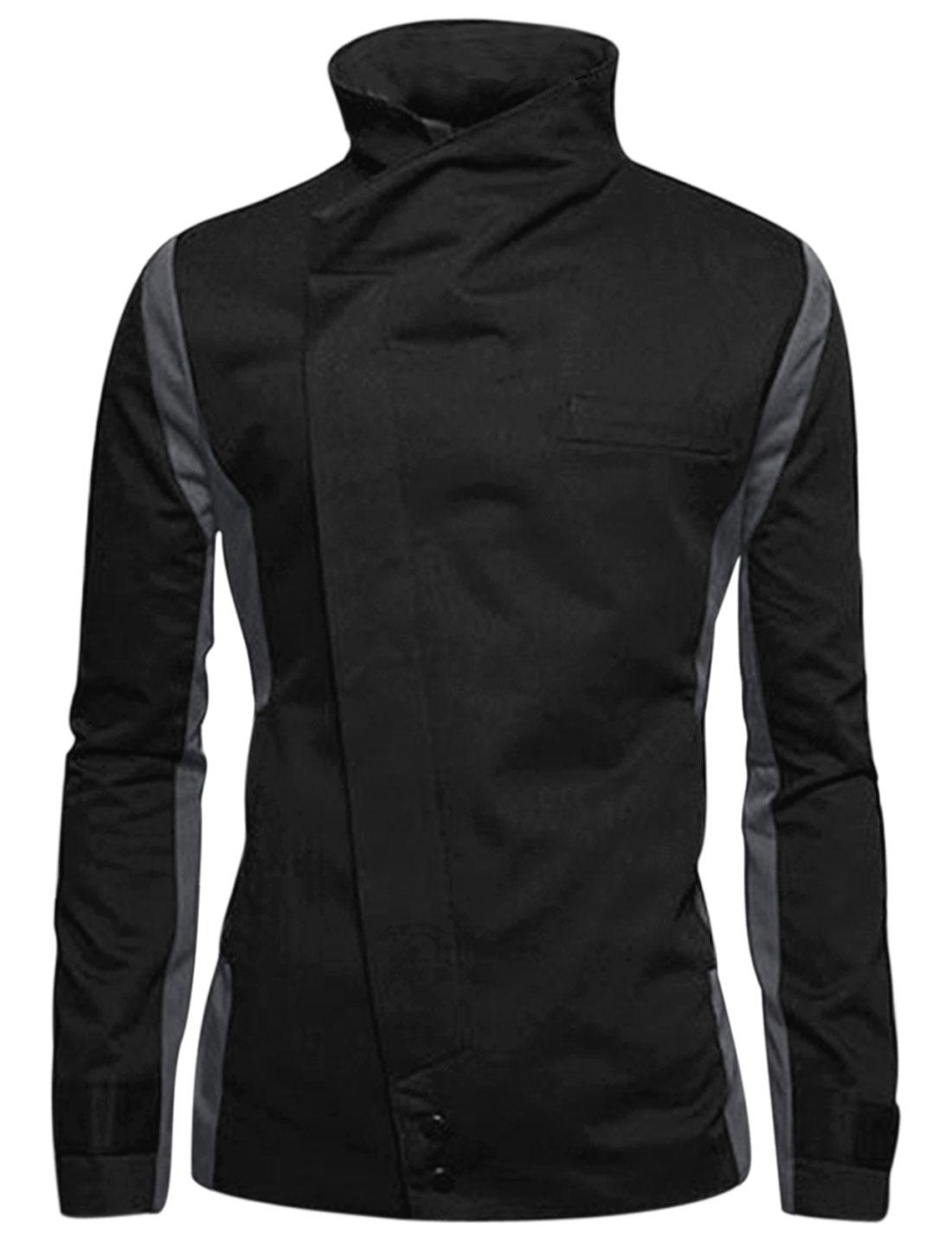 Men Black Button Closure Color Block Front Pockets Blazer Jacket M