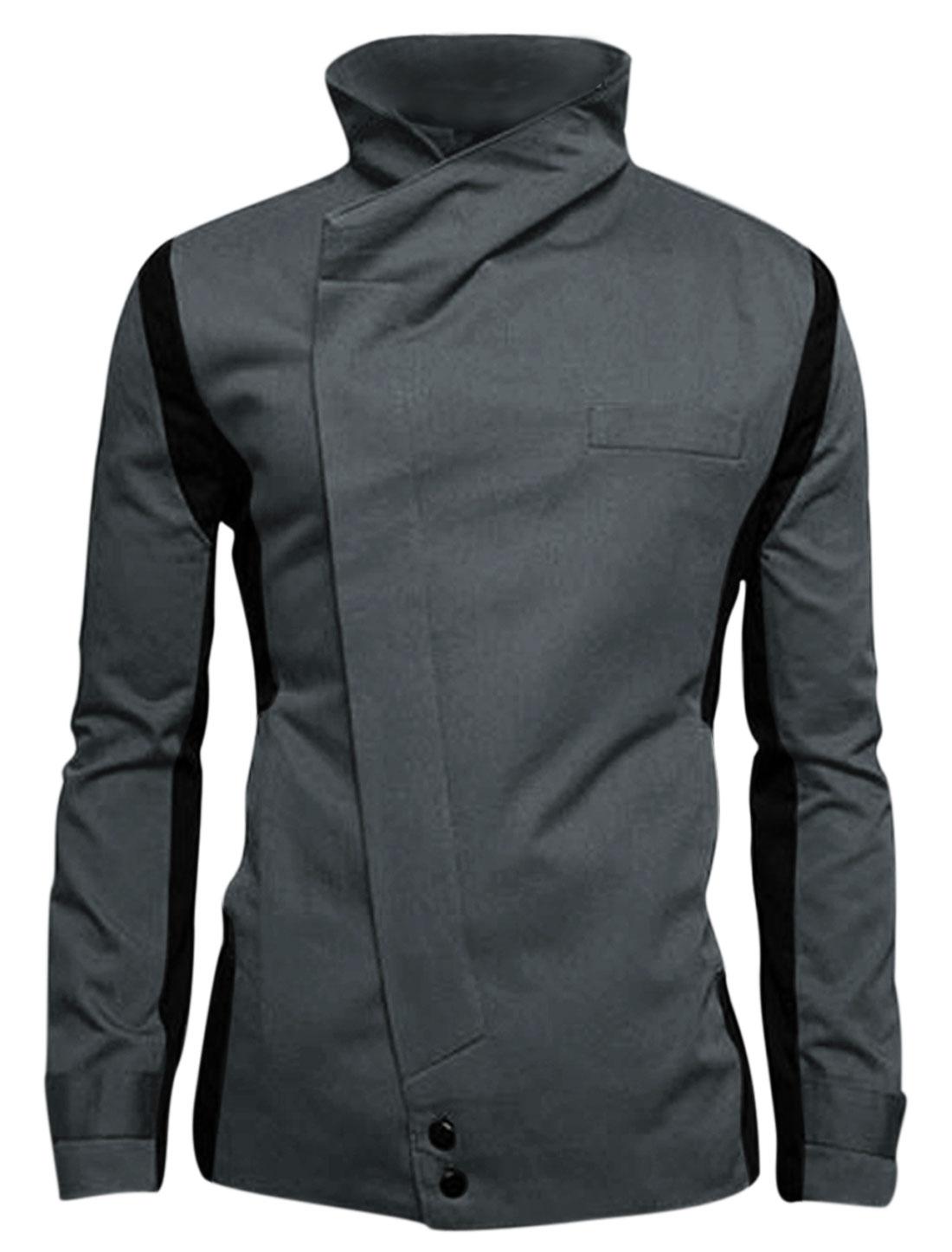 Men Gray Button Closure Color Block Front Pockets Blazer Jacket M