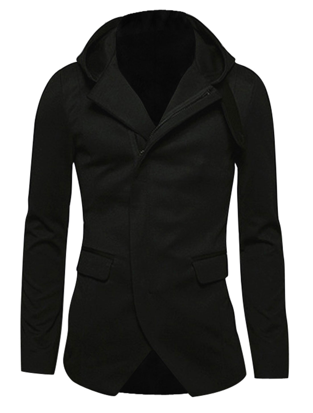 Hooded Zip Closure Long Sleeves Casual Jacket for Men Black M