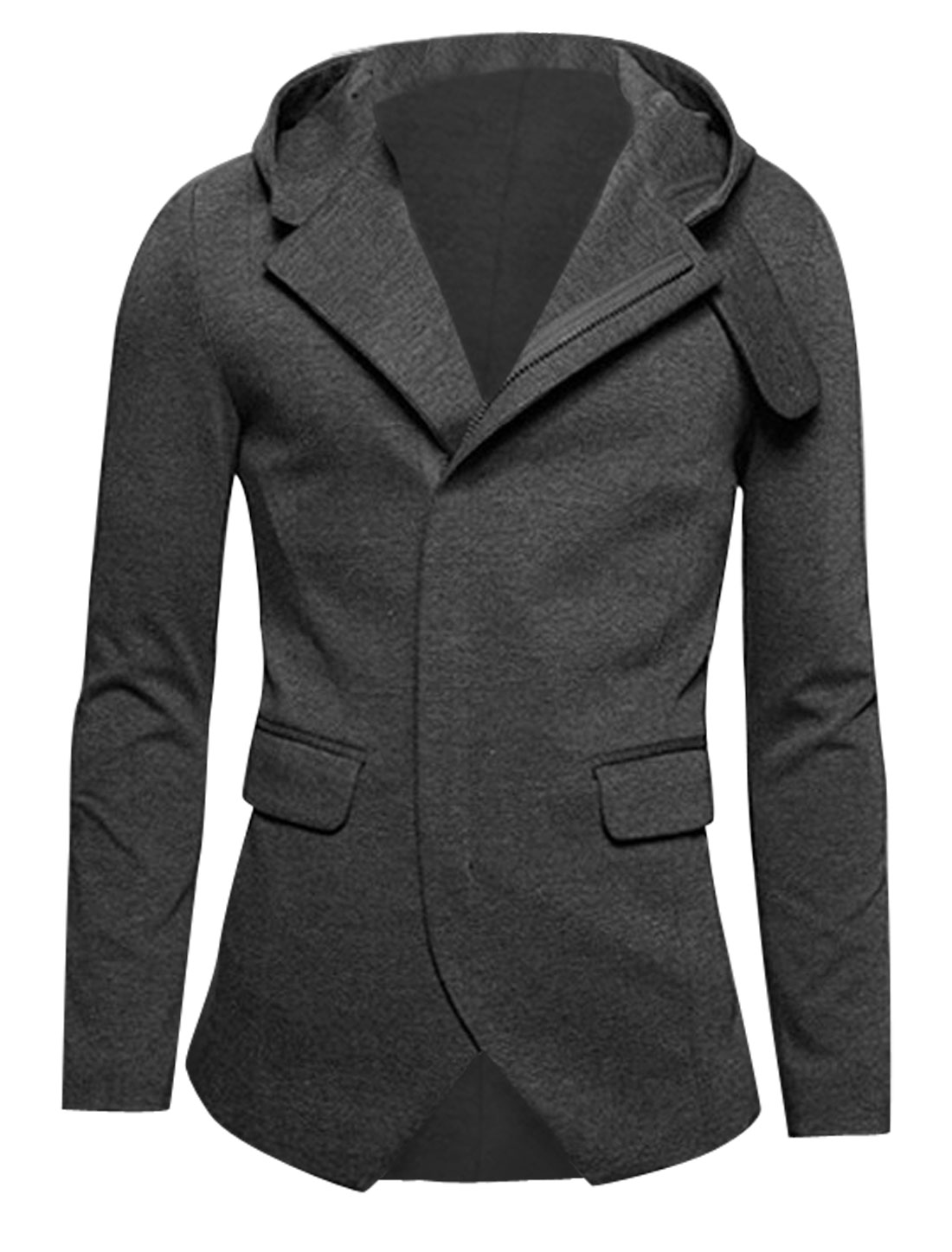 Men Zip Closure Split Back Chic Hooded Jacket Dark Gray M