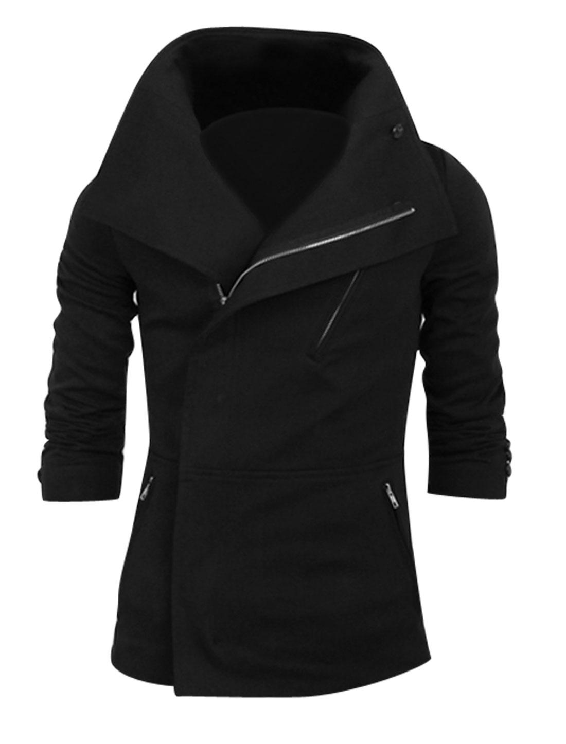 Convertible Collar Full Zip Casual Jacket for Men Black M