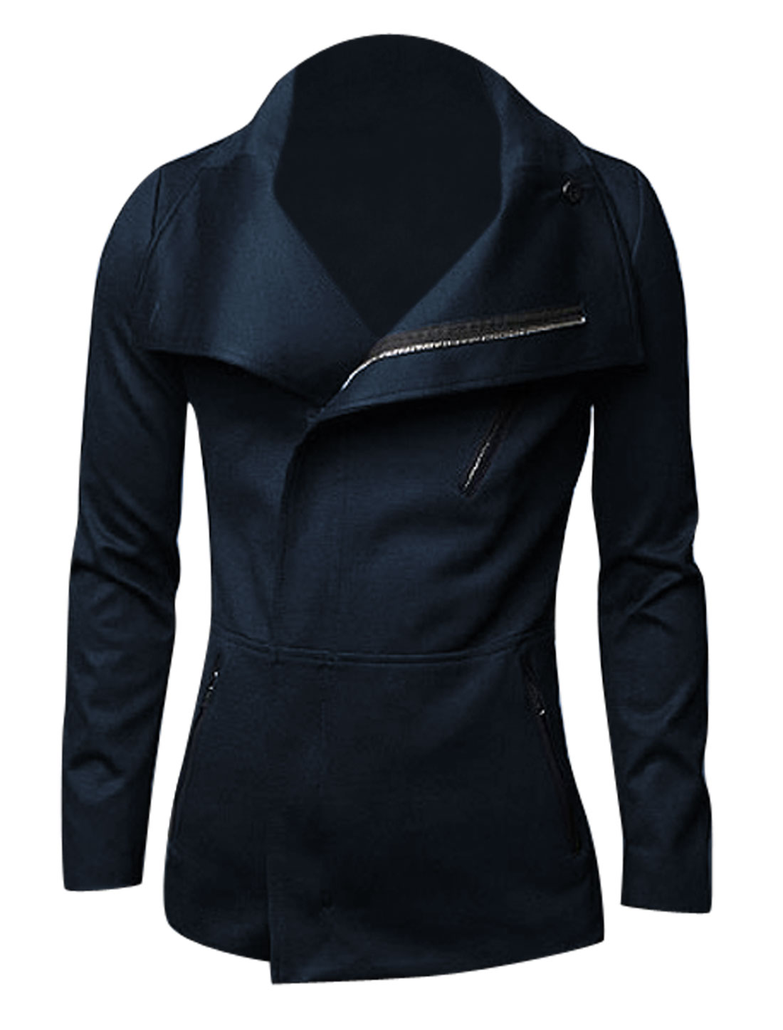 Convertible Collar Long Sleeves Trendy Jacket for Men Navy Blue M
