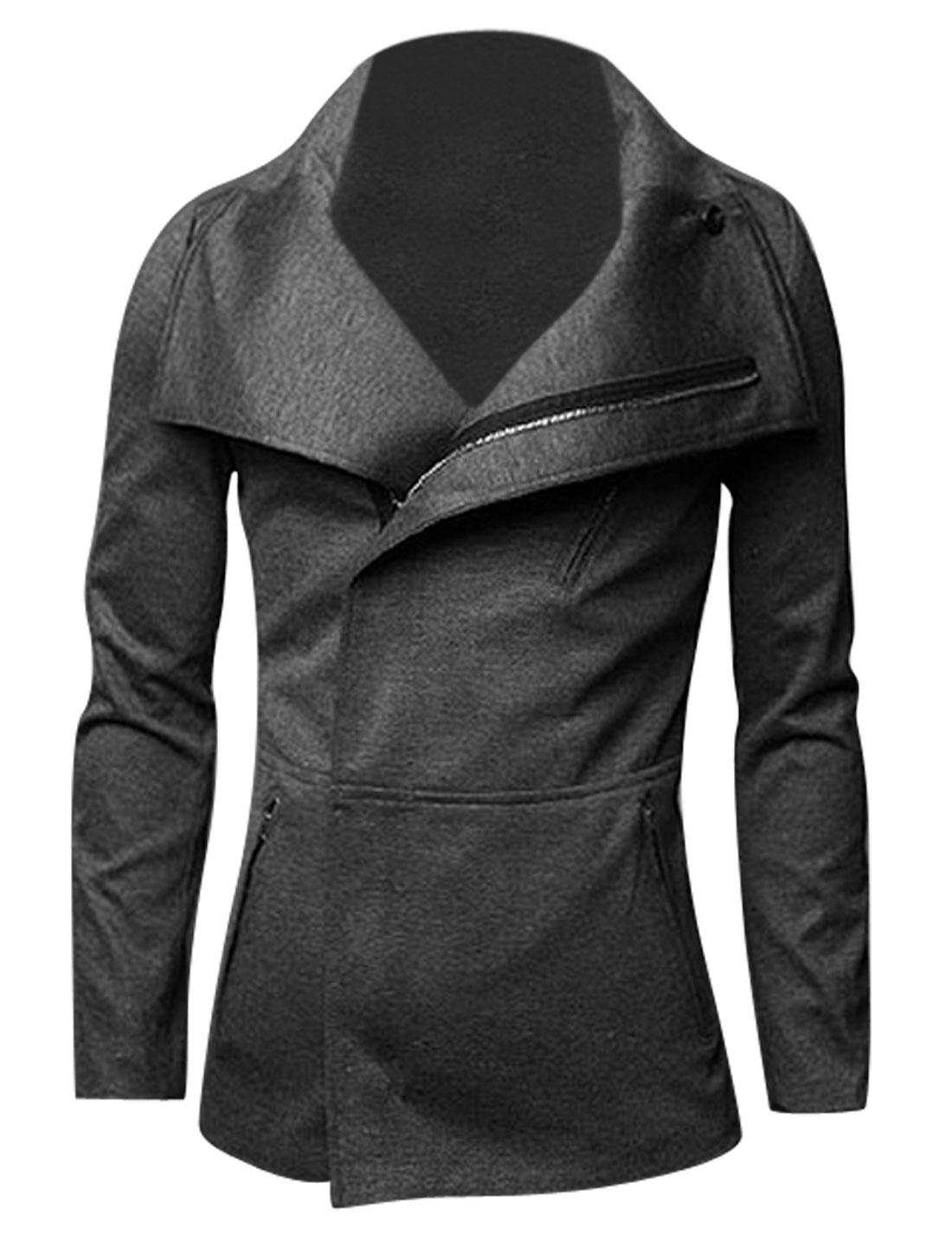 Men Convertible Collar Two Zipper Pockets Chic Jacket Dark Gray M