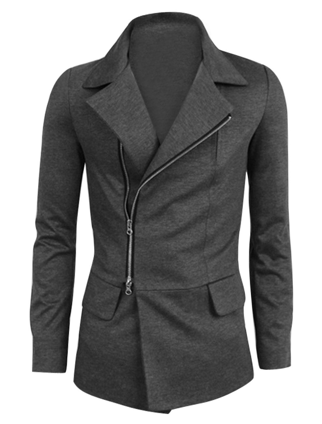 Men Convertibal Collar Flap Decor Full Zip Casual Jacket Dark Gray M