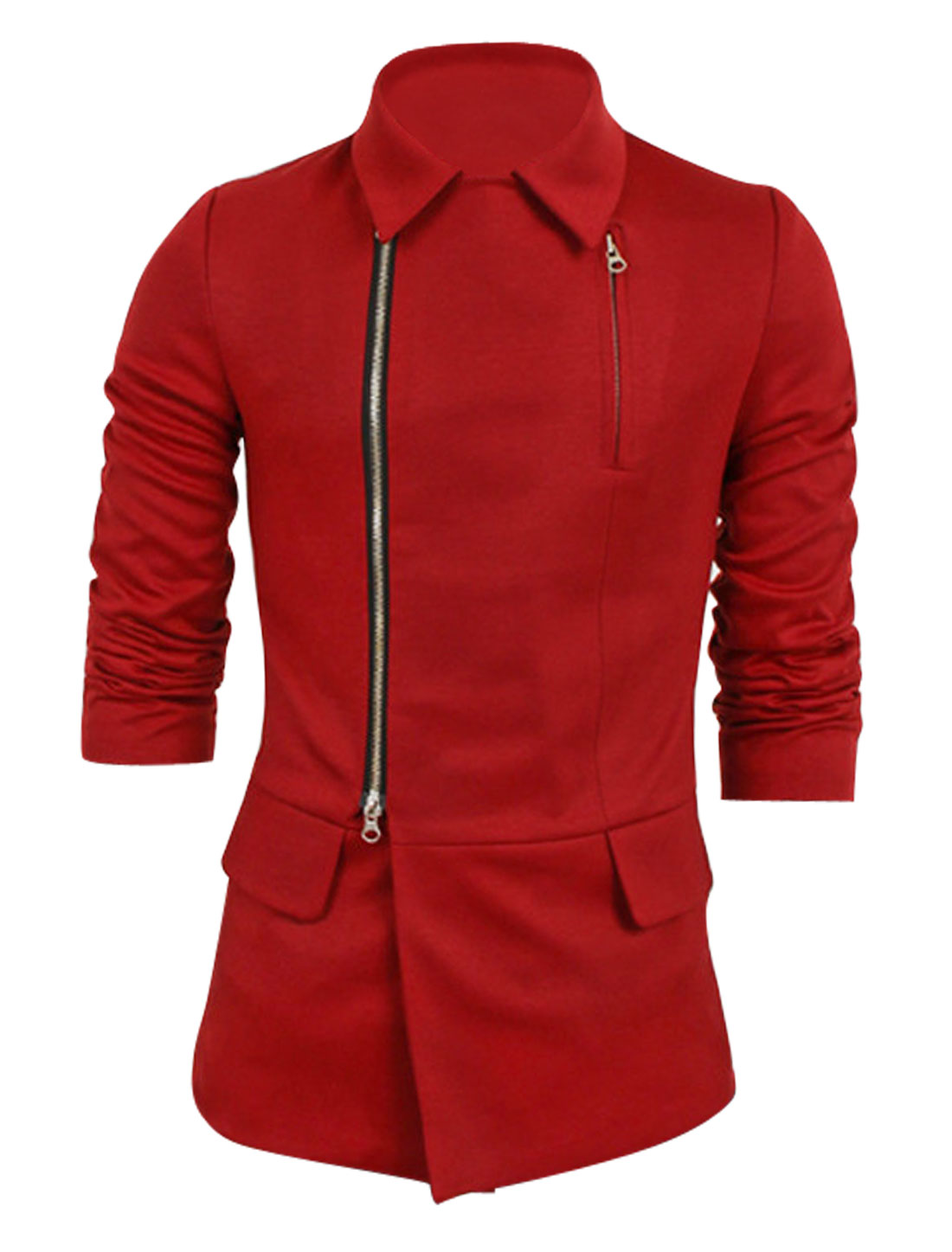 Men Long Sleeves Zip Closure New Fashion Jacket Red M