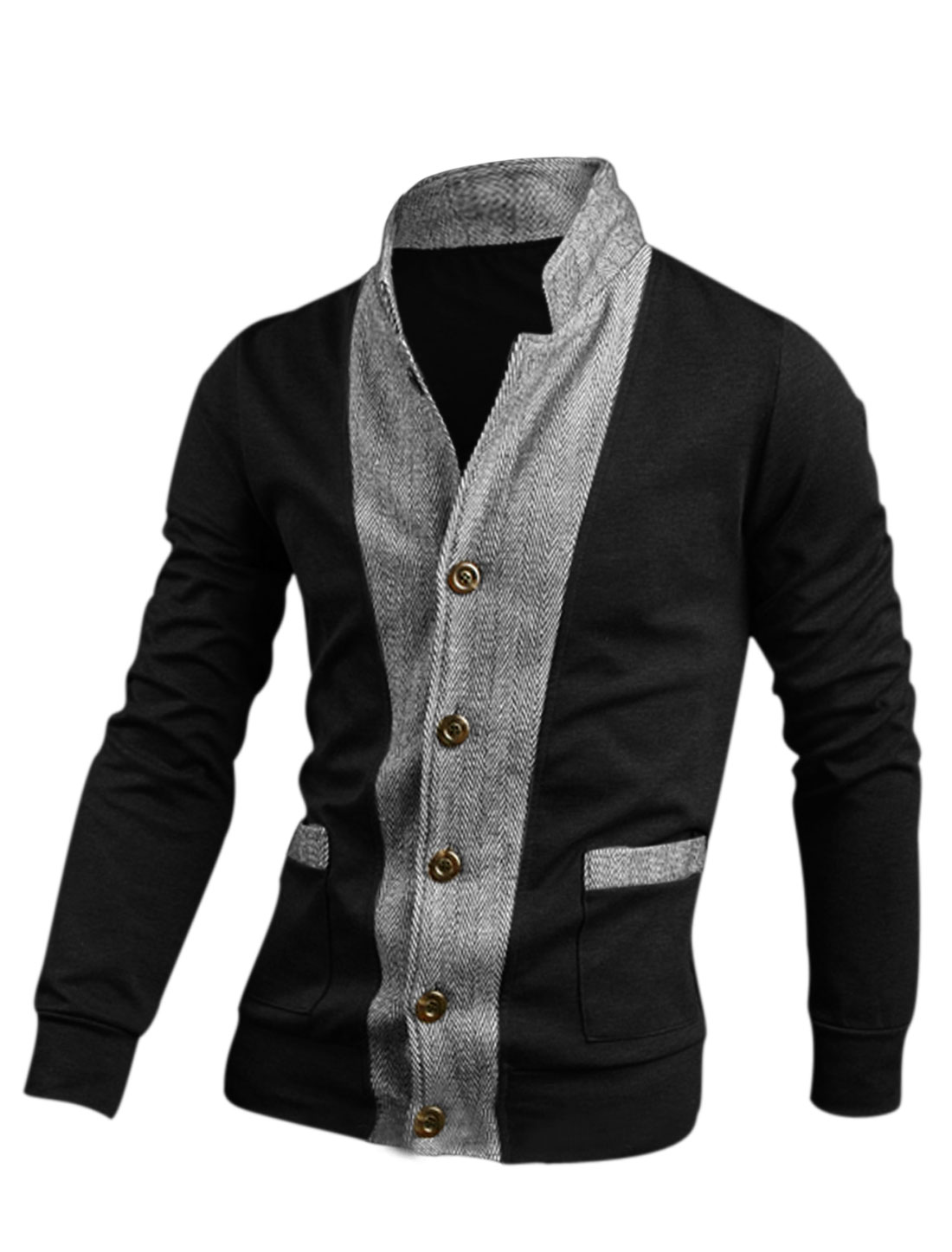 Men Black Single Breasted Front Pockets Ribbed Cuffs Jacket M