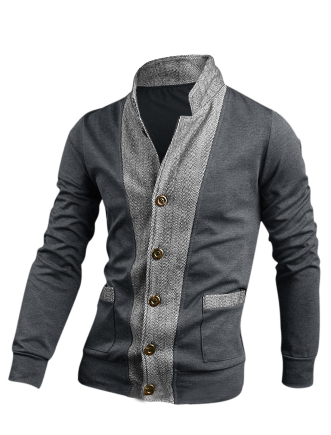 Men Gray Button Closure Front Pockets Stand Collar Jacket M