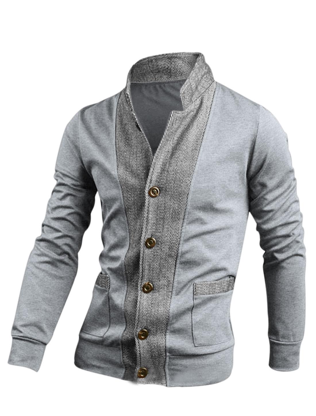Men Light Gray Button Down Color Block Slim Fit Casaul Jacket M