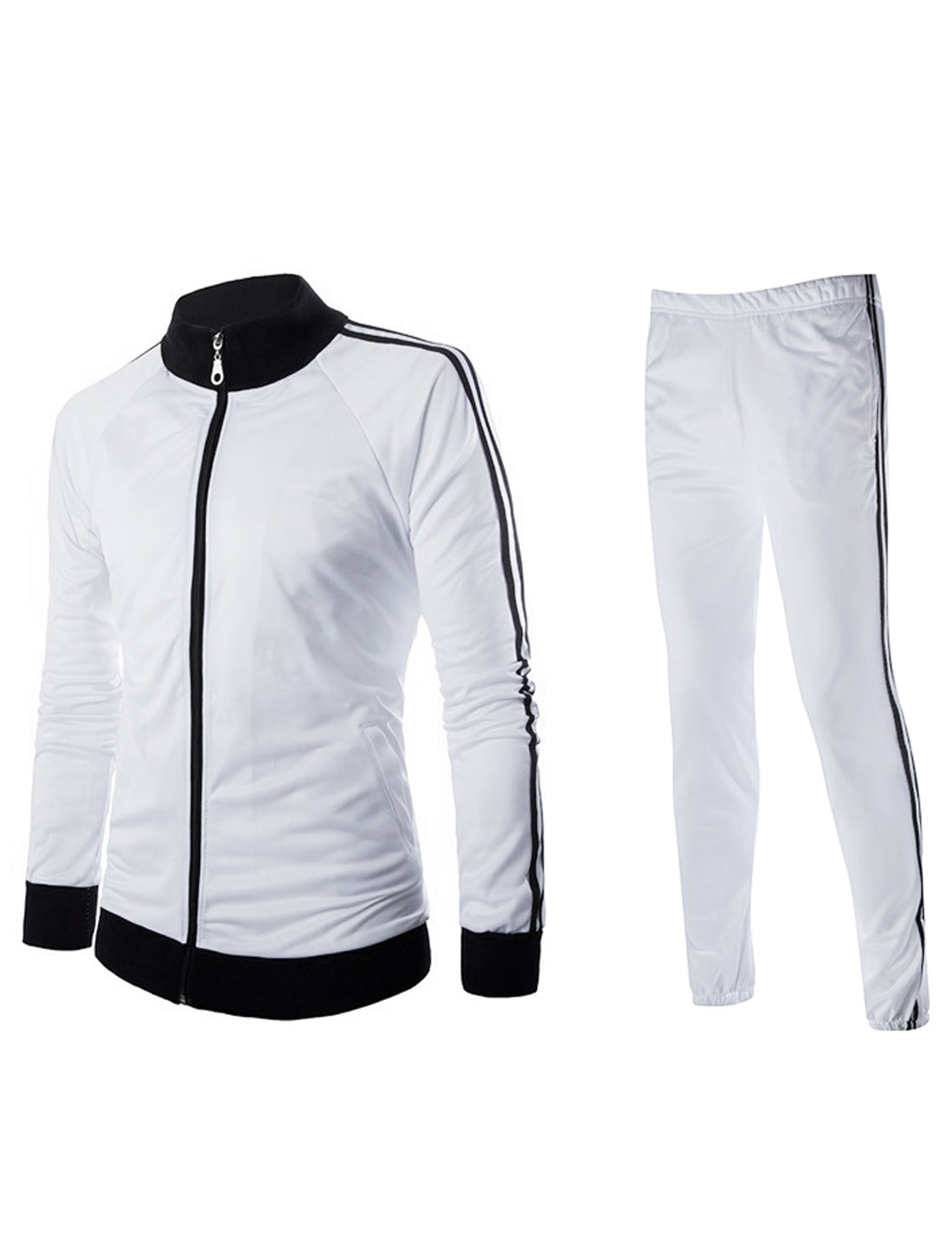 Men Long Sleeves Two Pocket Jacket w Elastic Cuffs Pants Sets White S