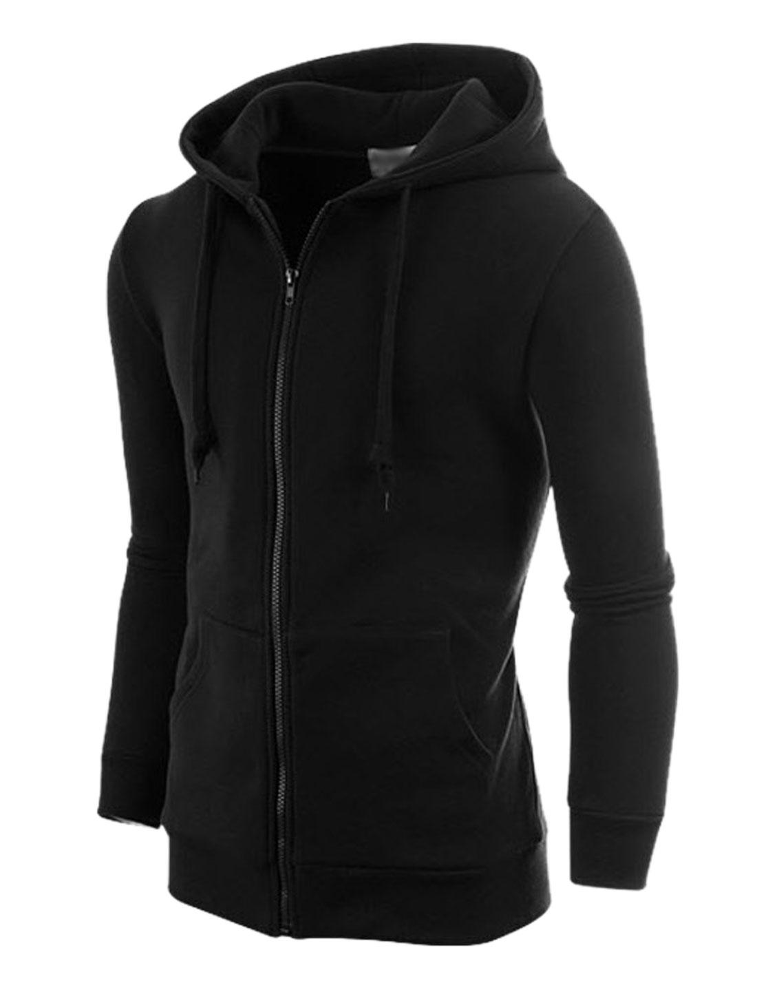 Men Black Zip Up Front Pockets Drawstring Ribbed Trim Hoodie Jacket M