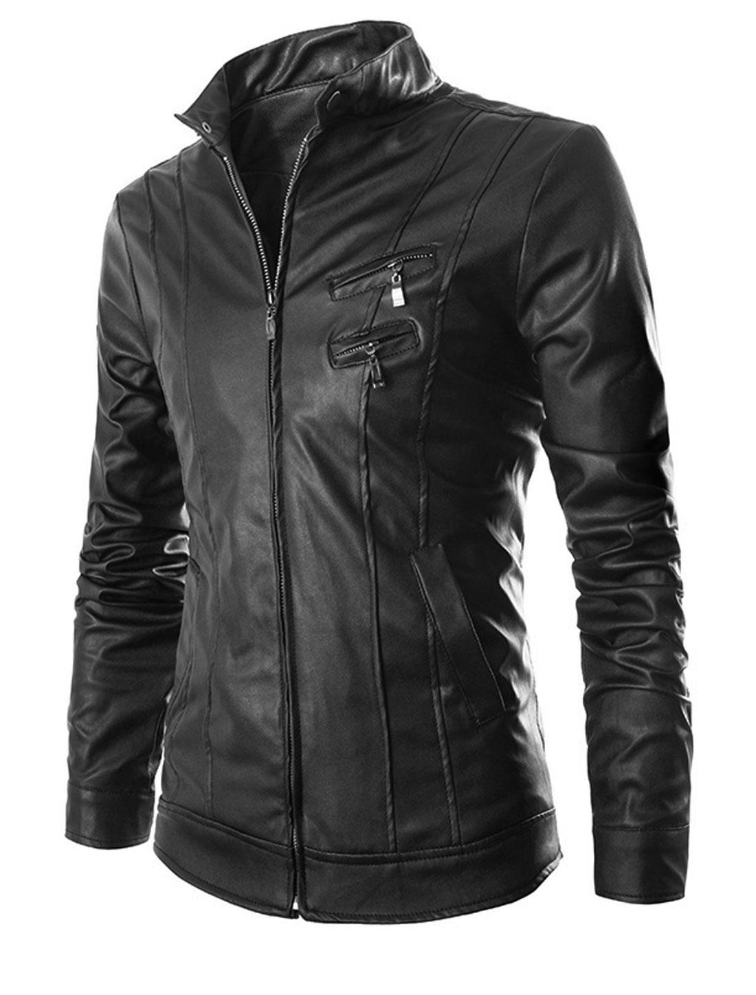 Men Black Zip Down Front Pockets Button Cuffs Slim Fit Biker Jacket M