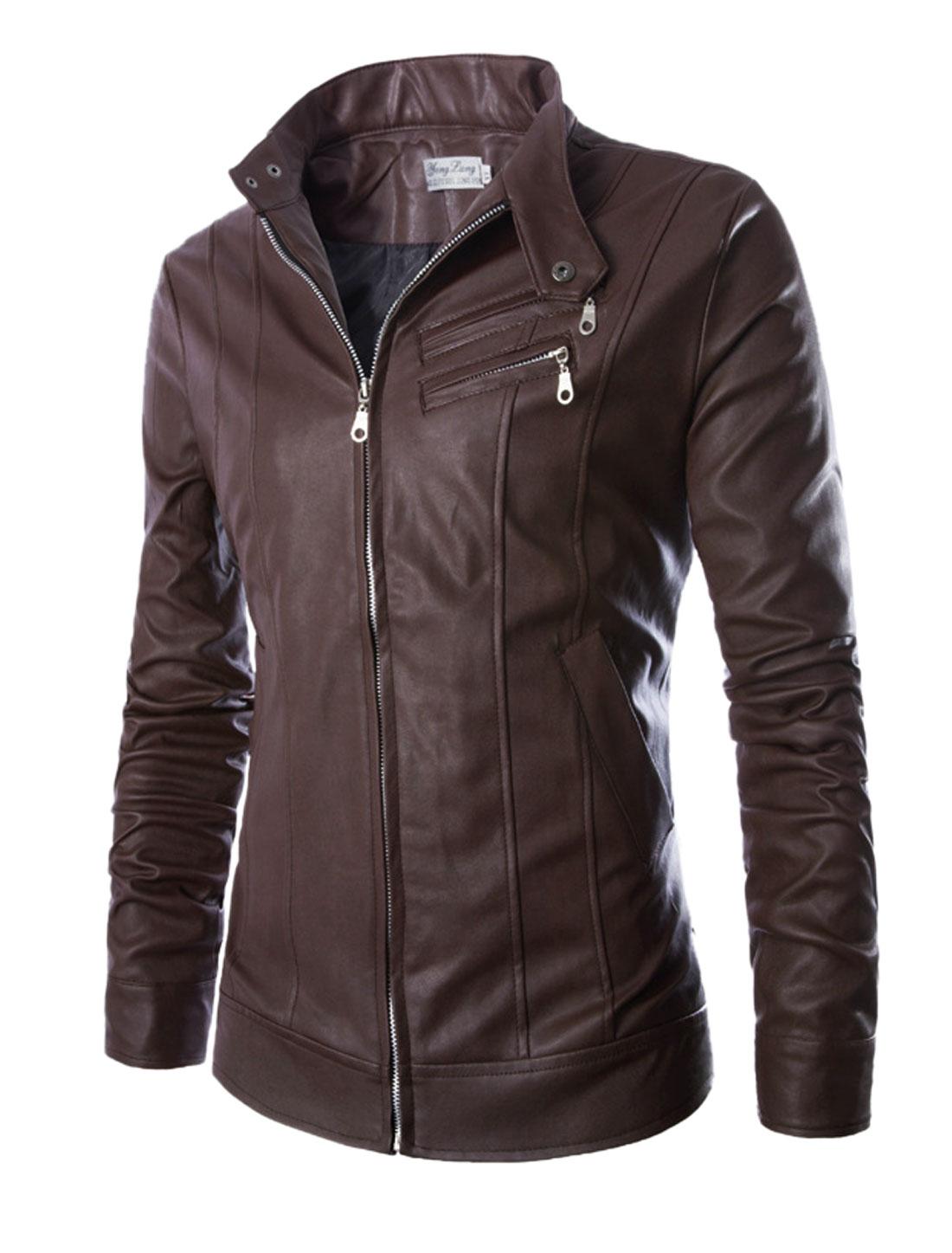 Men Dark Brown Zip Clsoure Front Pockets Button Cuffs Casual Biker Jacket M