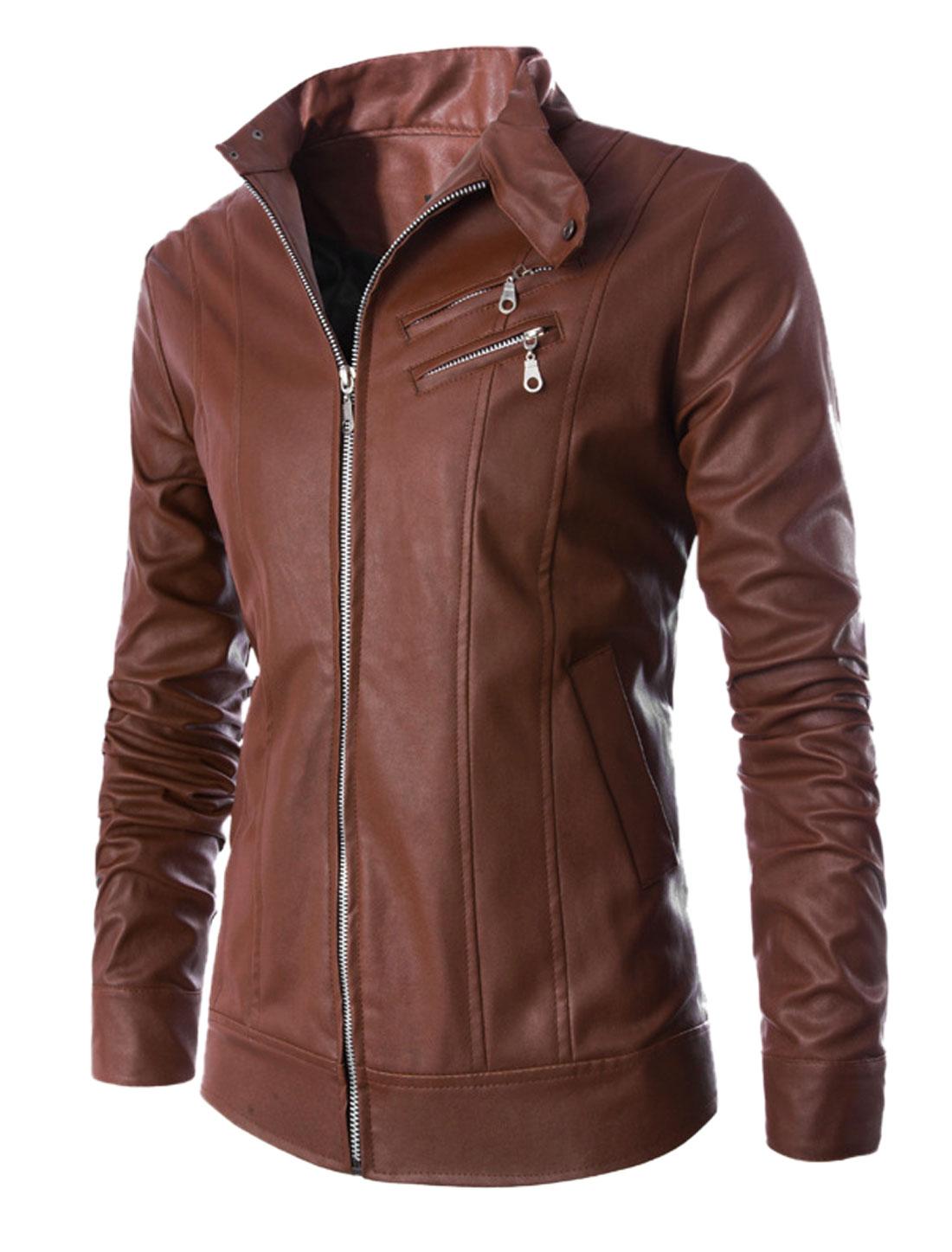 Men Brown Zip Fly Front Pockets Button Cuffs Leisure Biker Jacket M