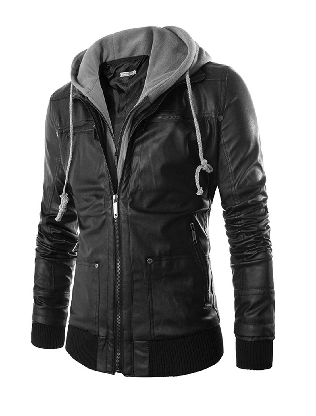 Men Black Layered Designs Double Zip Up Zipper Pockets Hoodie Jacket M