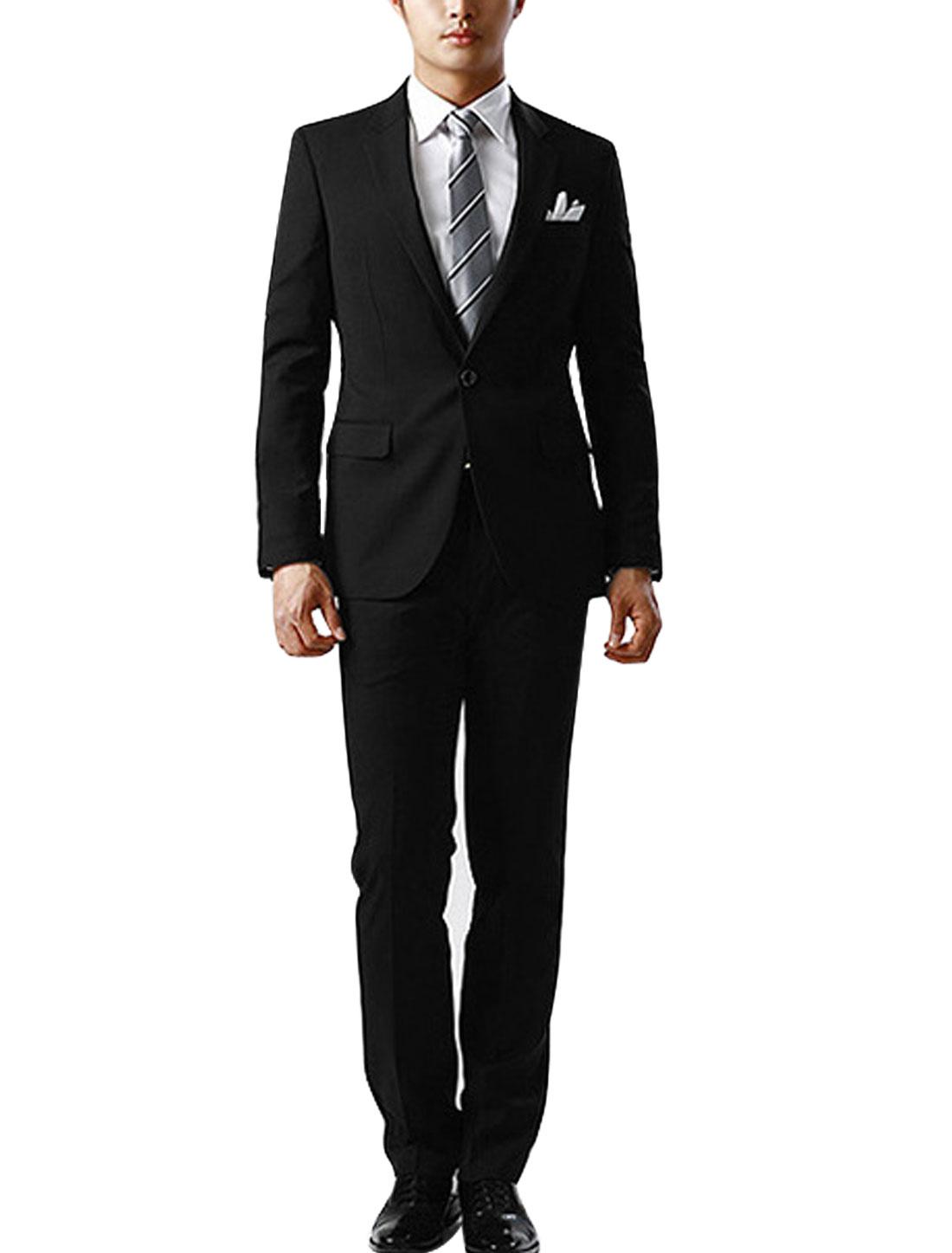 Men Black Button Closure Blazer Jacket w Mid Rise Belt Loop Pants Suits S