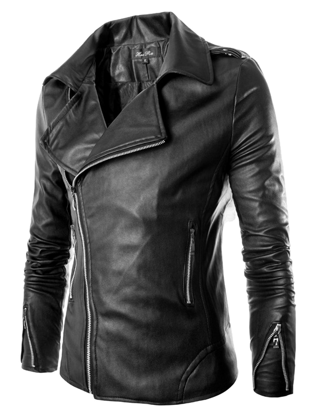 Men Black Slant Zip Up Zipper Pockets Convertible Collar Pu Biker Jacket S