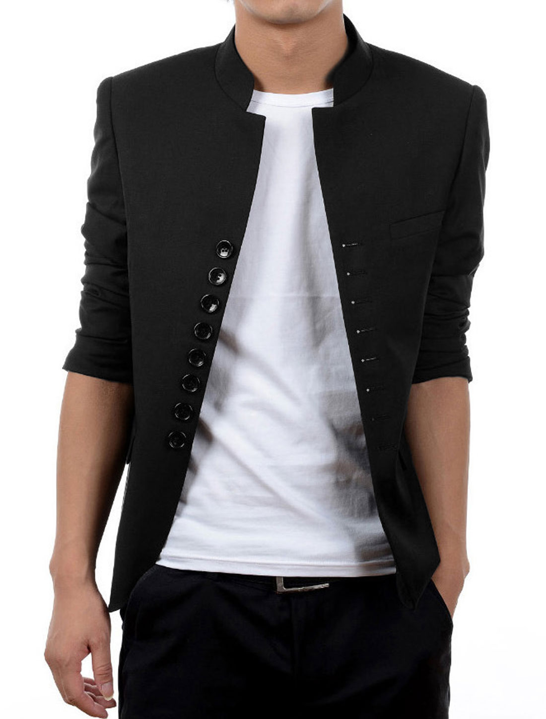 Men Black Single Breasted Padded Shoulder Front Pockets Slim Fit Blazer Jacket M