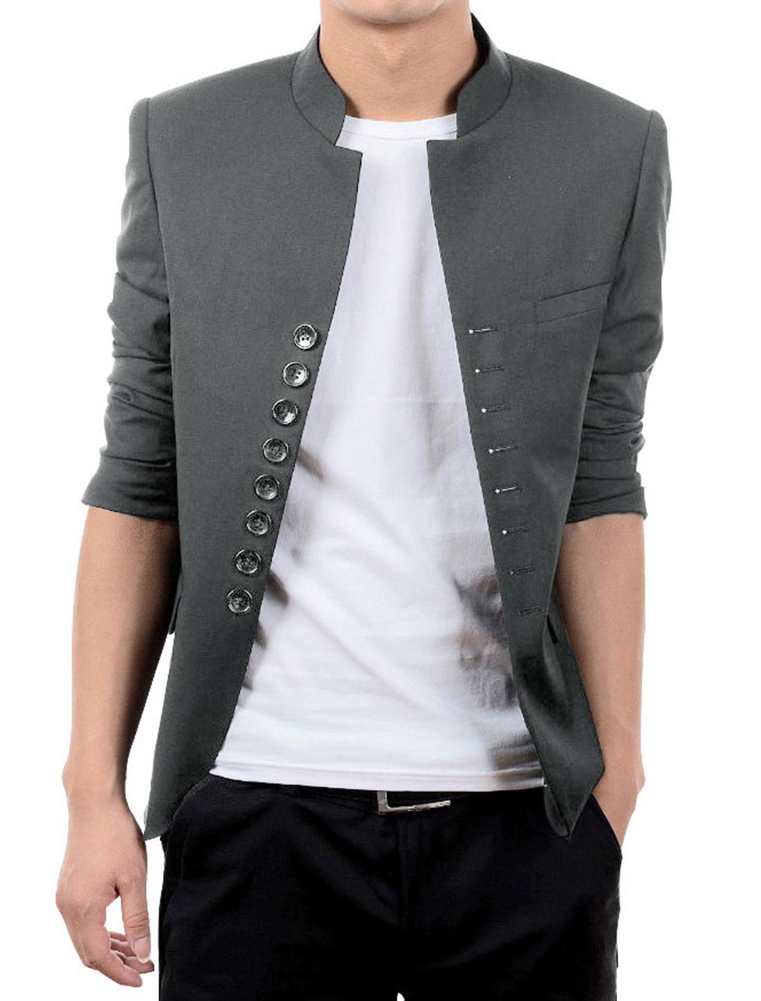 Men Gray Button Closure Padded Shoulder Front Pockets Blazer Jacket M
