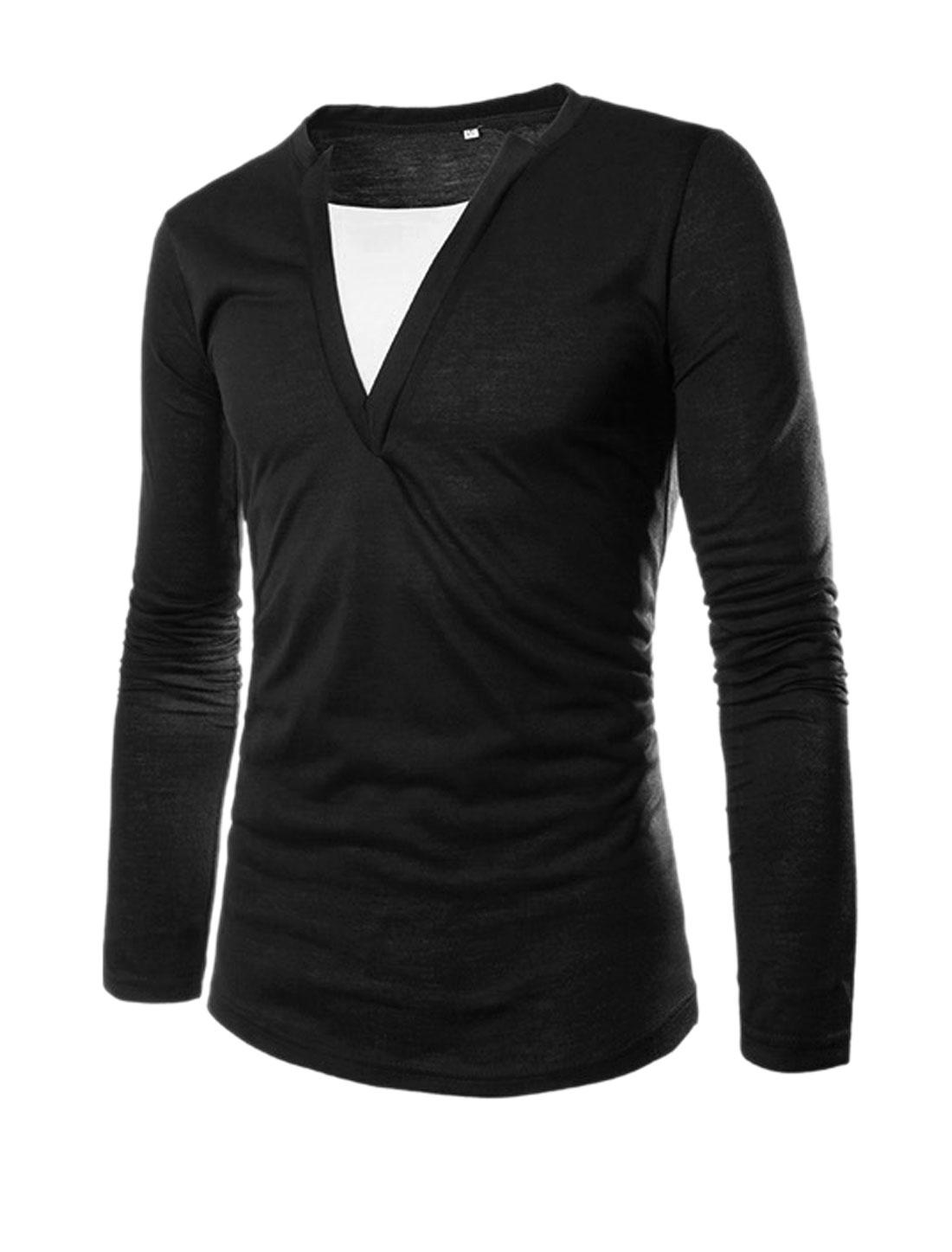 Men Black Pullover Split Neck Layered Shirts Slim Fit T-Shirt M