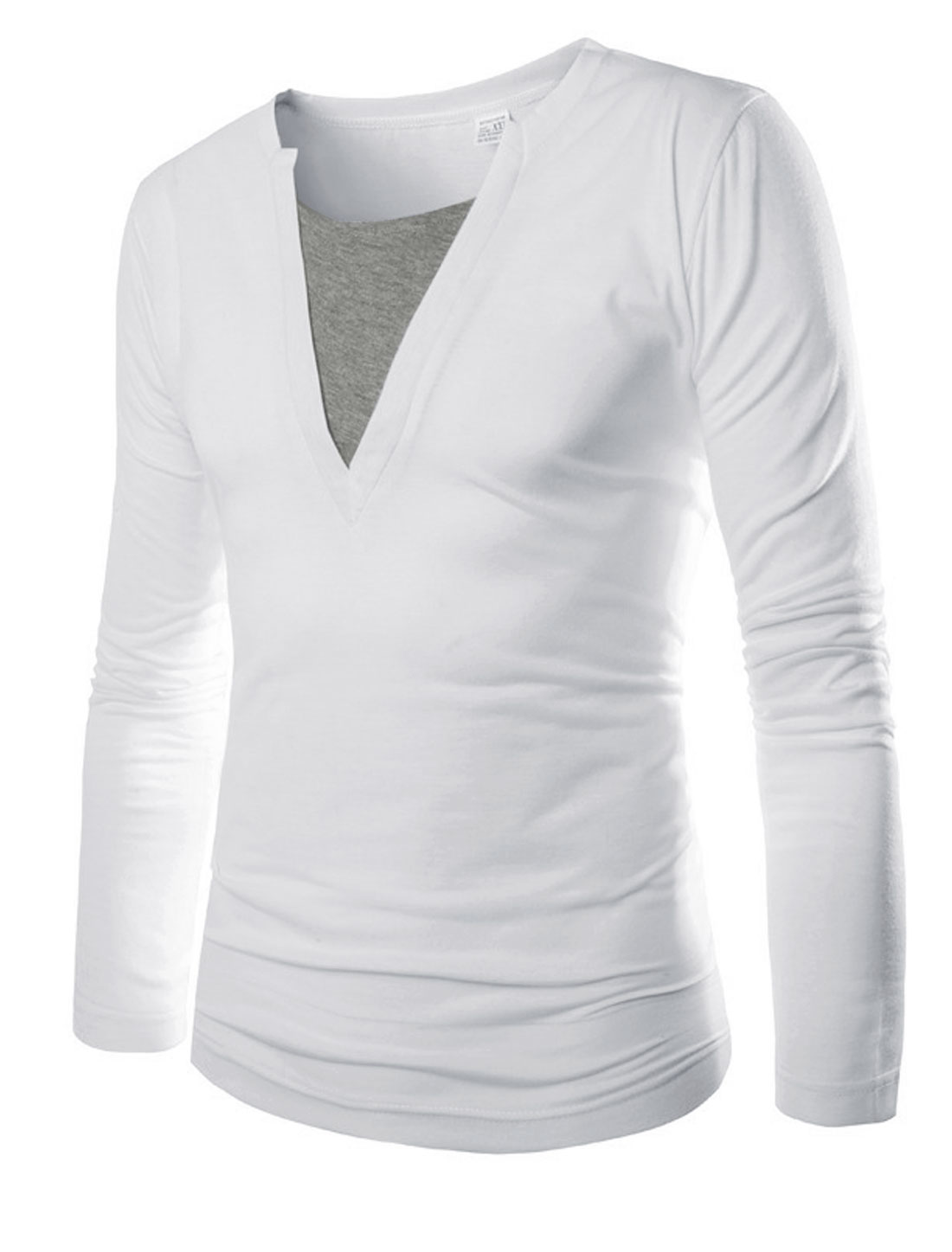 Men White Slipover Contrast Detail Layered Shirts Long Sleeves T-Shirt M