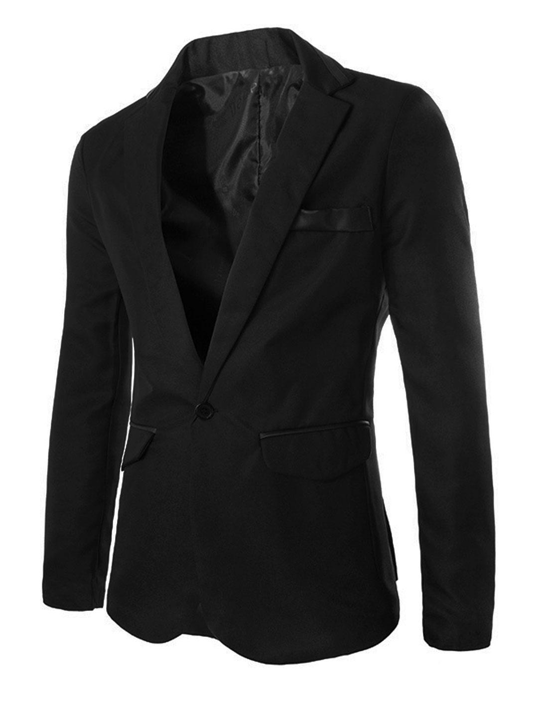 Notched Lapel Split Back New Style Blazer for Men Black M