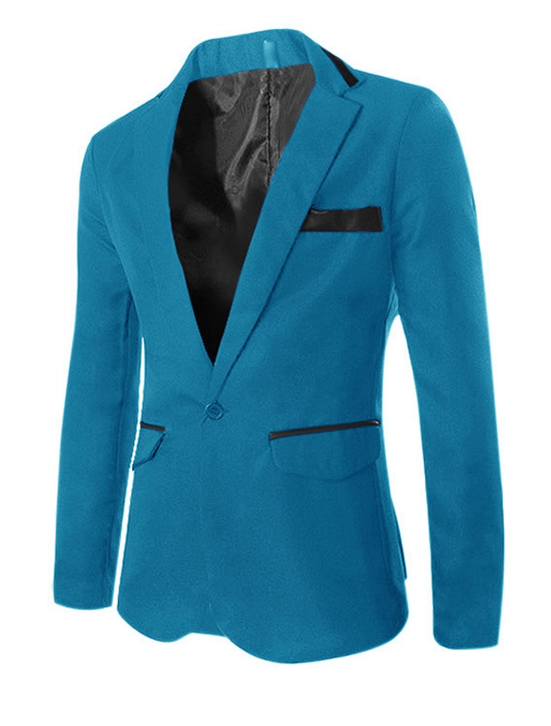 Men Long SLeeves Panel Design Leisure Blazer Blue M
