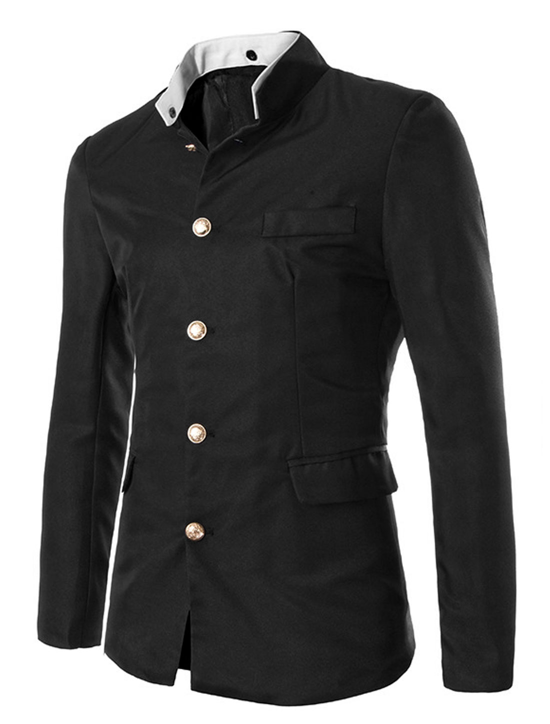 Men Black Button Closure Front Pockets Long Sleeves Blazer Jacket M