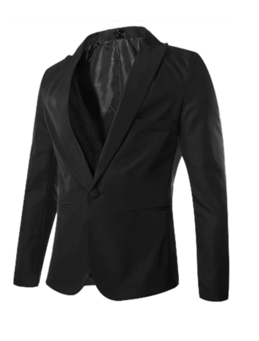 Men Peaked Lapel One Button Closed Blazer Jacket Black M