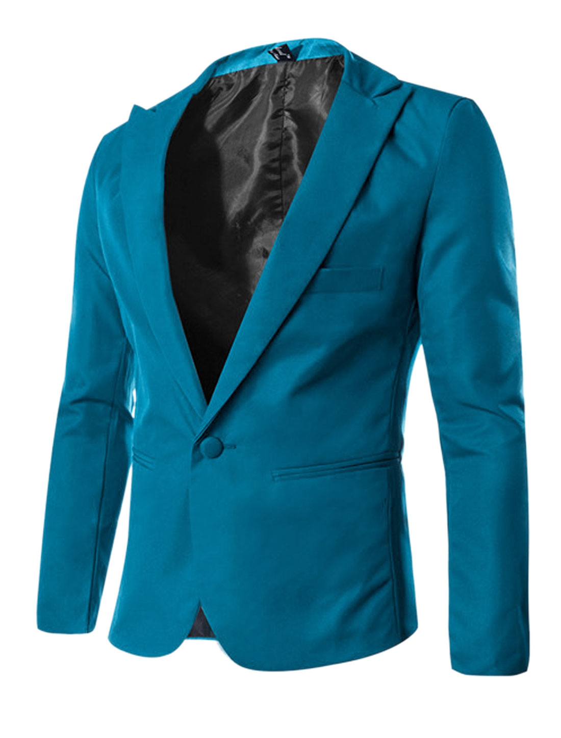 Man One Button Closed Long Sleeves Royal Blue Blazer Jacket M