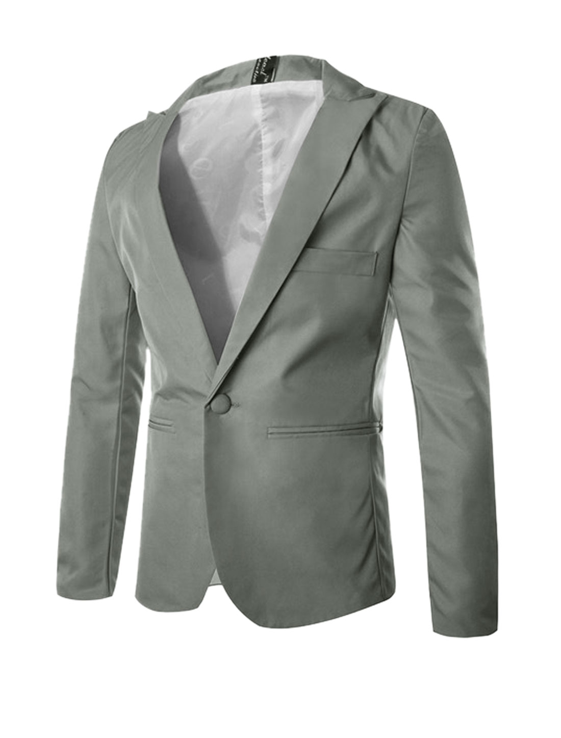 Man NEW Full Sleeves Button Closed Light Gray Blazer Jacket M