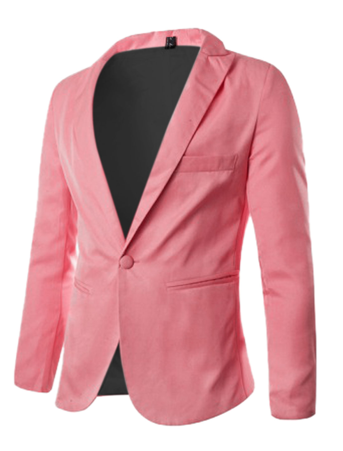 Button Up Front Long Sleeves Pink Blazer Jacket for Man M