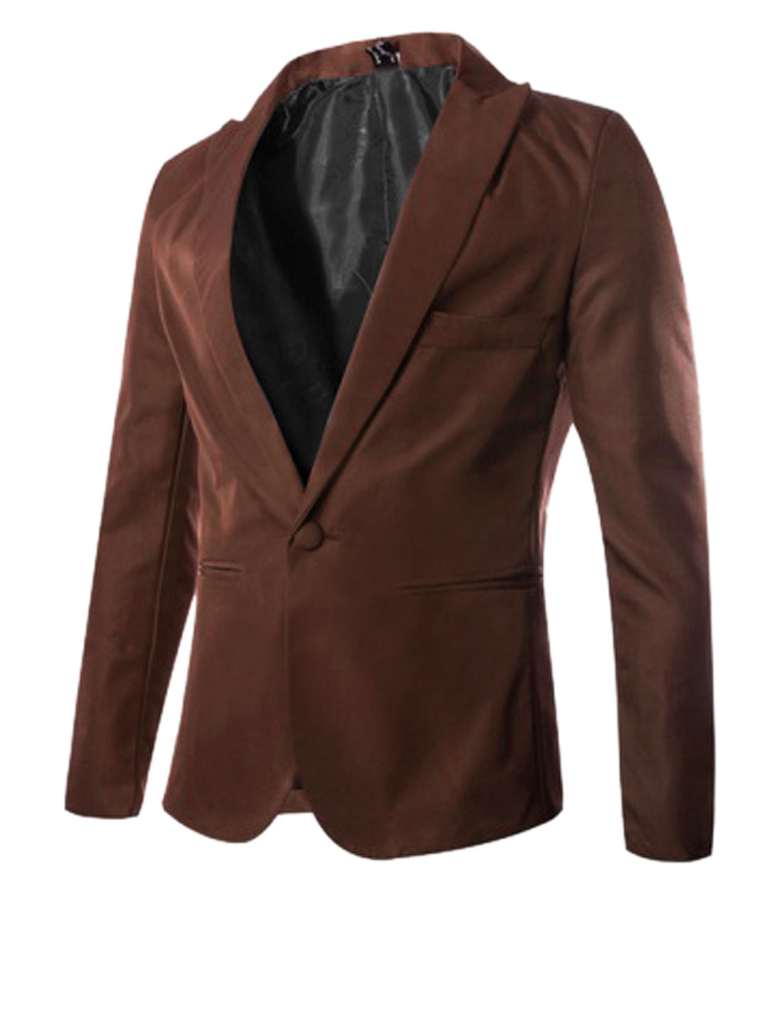 One Button Front Peaked Lapel Slim Fit Burgundy Blazer Jacket for Man M