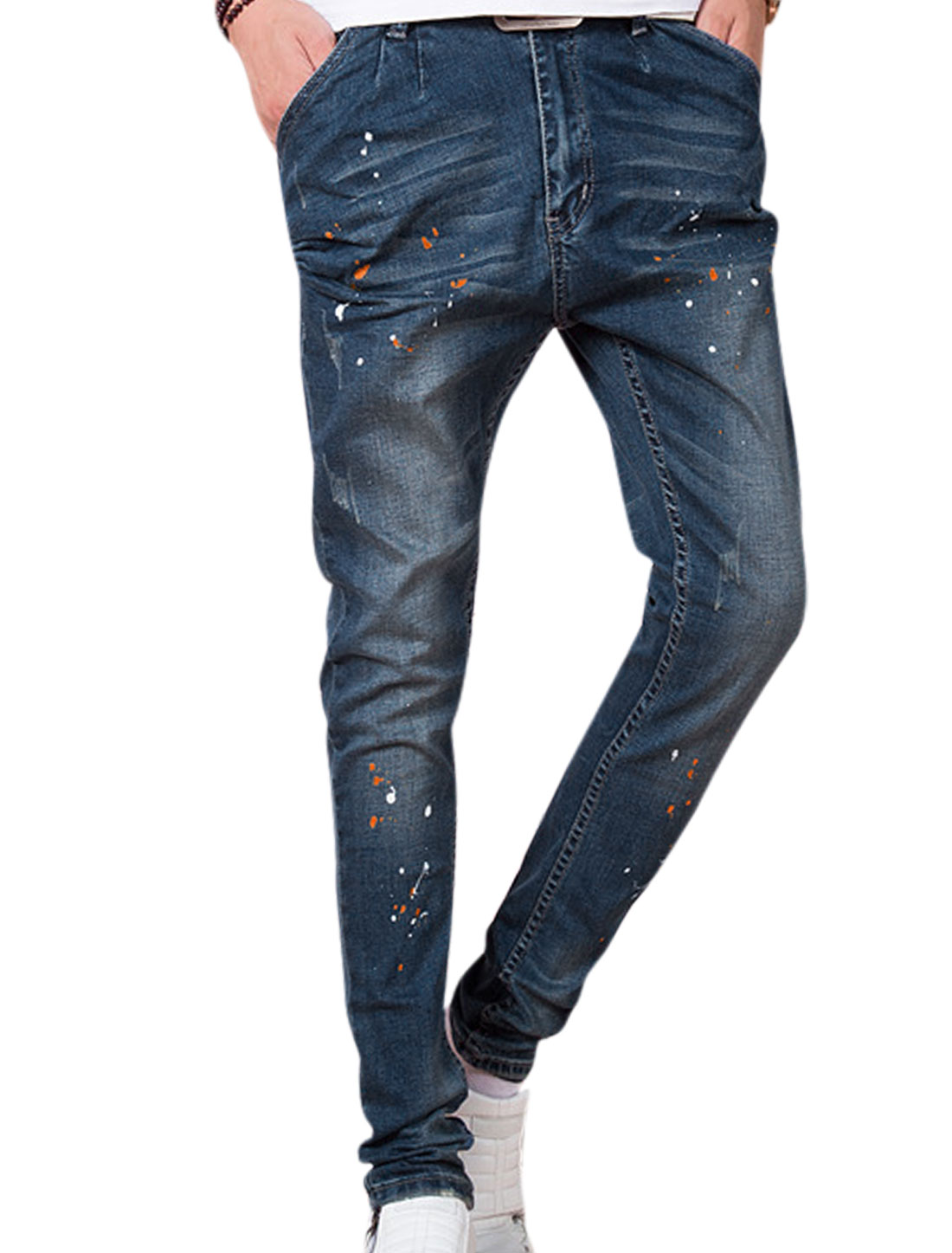 Natural Waist Printed Destroyed Design Casual Jeans for Men Blue W30