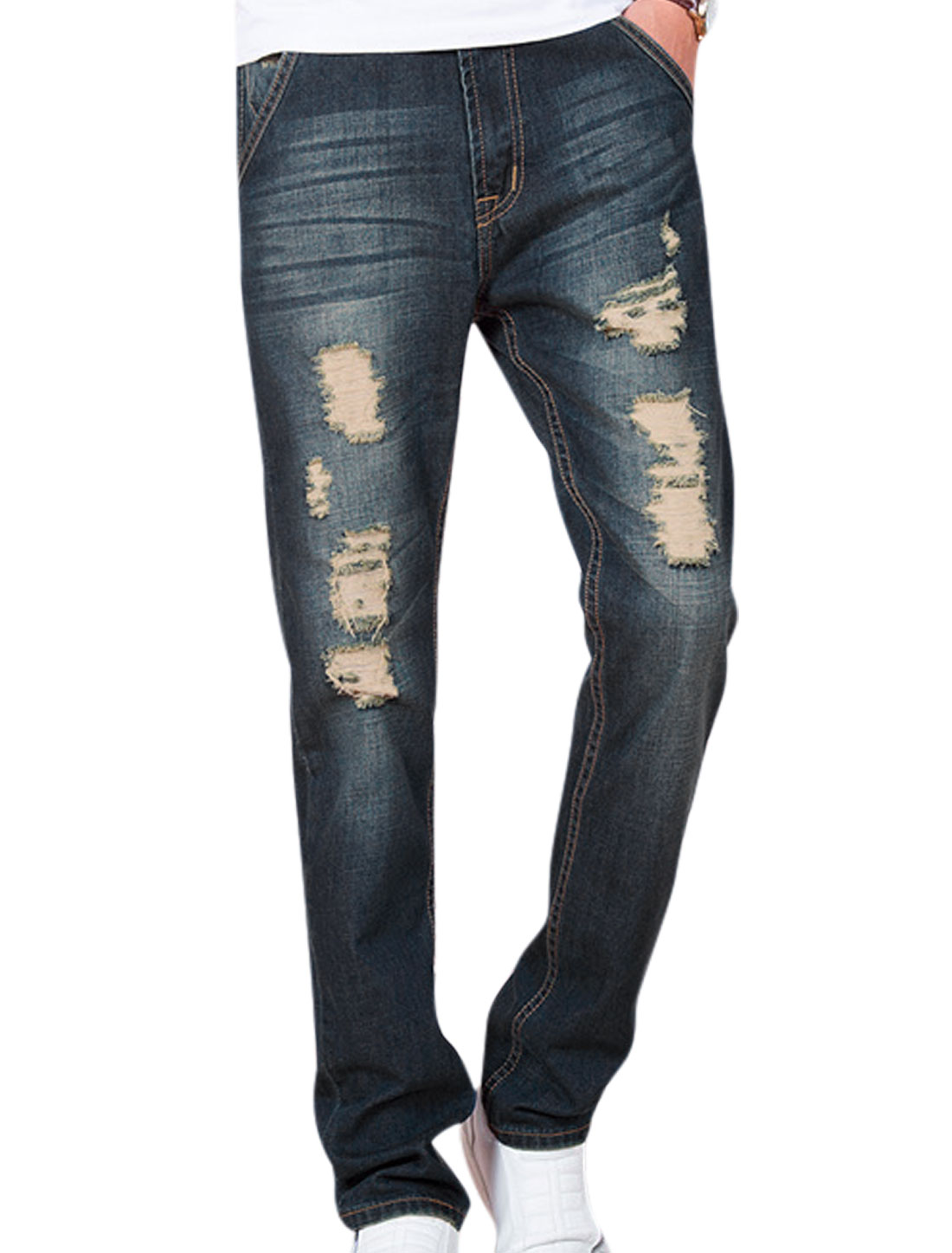 Mid Rise Destroyed Design Straight NEW Jeans for Men Navy Blue W32