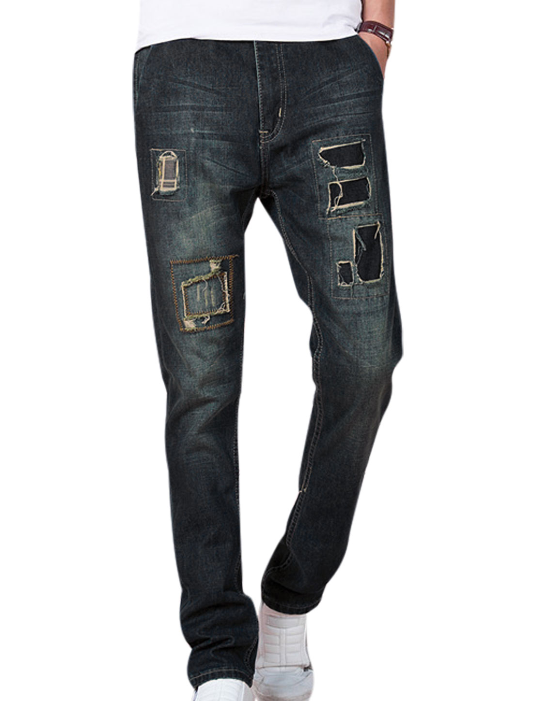 Natural Waist Destroyed Design Trendy Jeans for Men Navy Blue W32