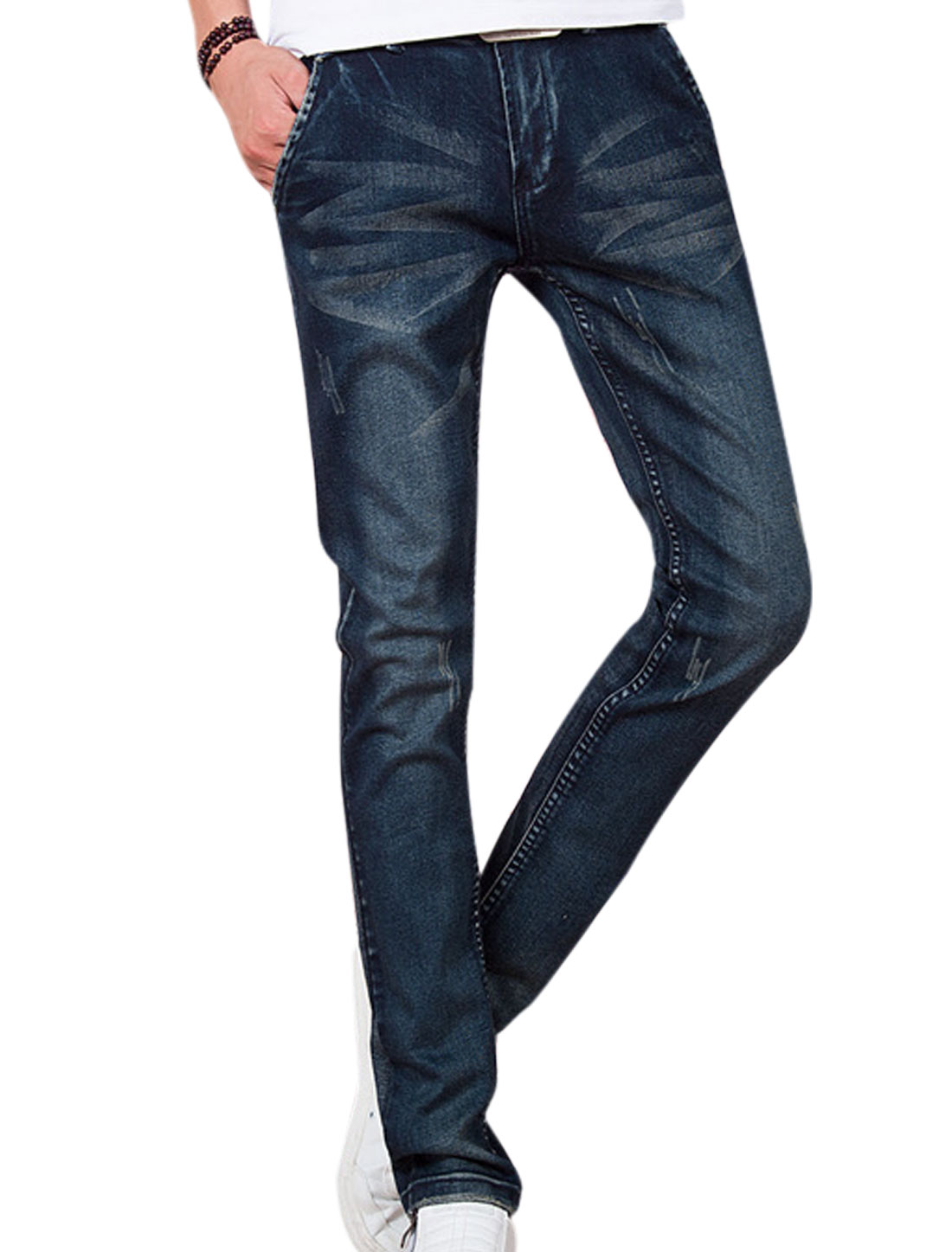 Low Rise Destroyed Design New Style Jeans for Men Navy Blue W30