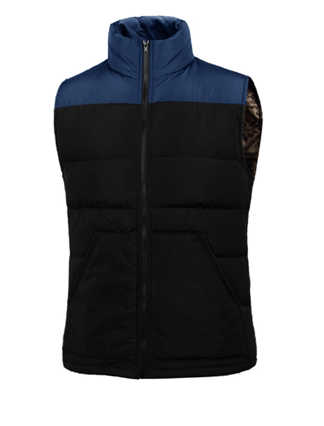 Stand Collar Contrast Color Leisure Padded Vest for Men Navy Blue Black M