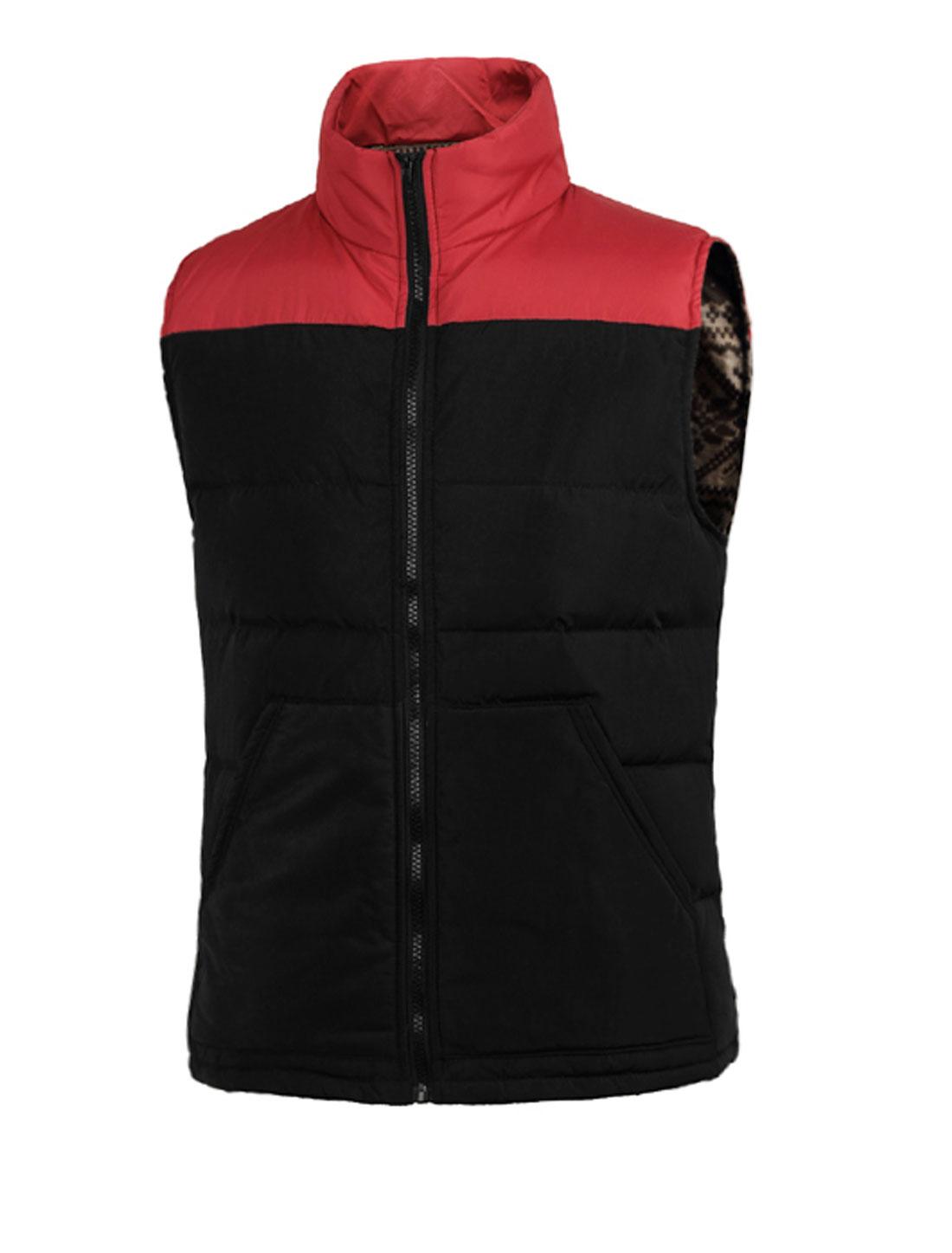 Men Sleeveless Color Blocking NEW Padded Vest Red Black M