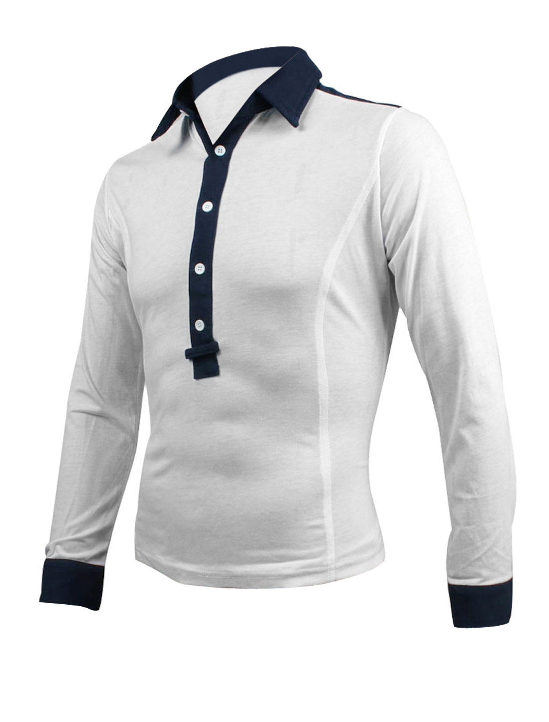 Men Point Collar 1/2 Placket Button Cuffs White Casual Polo Shirt M