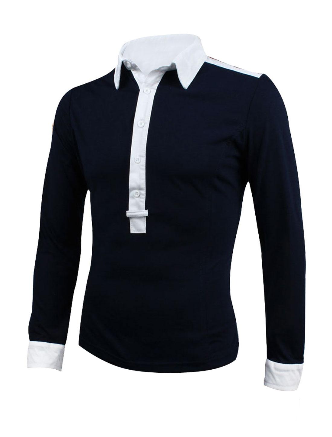 Man Slim Fit Slipover 1/2 Placket Navy Blue Casual Polo Shirt M