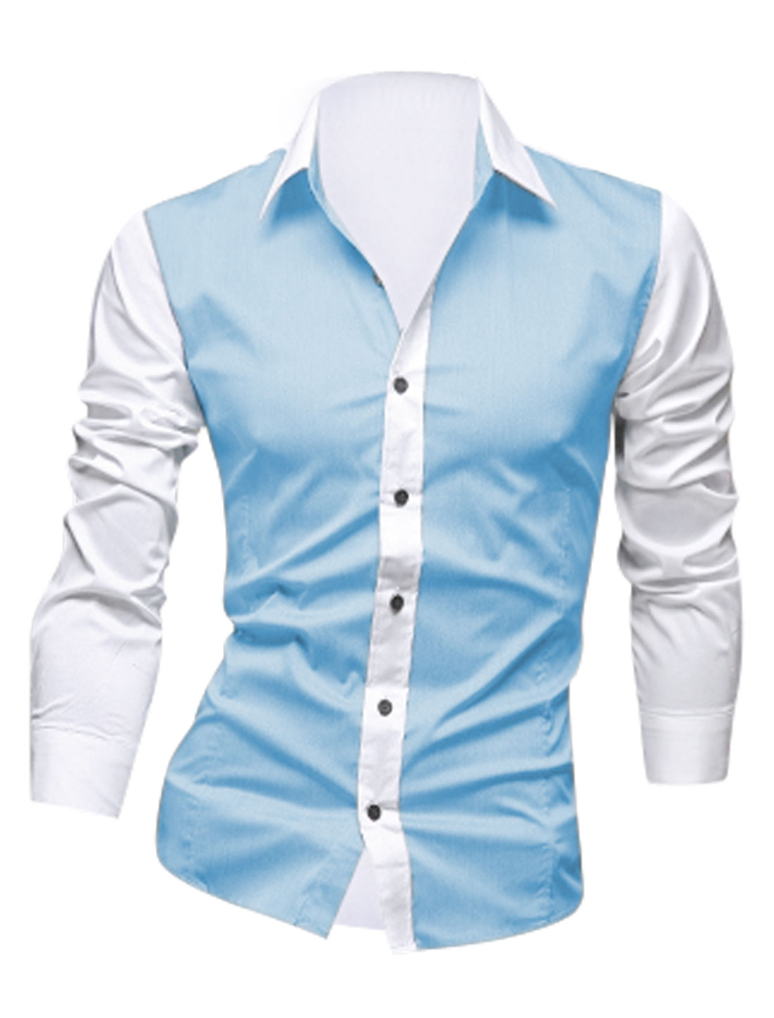 Men Color Block Long Sleeve Button Down Chic Shirts Sky Blue White M