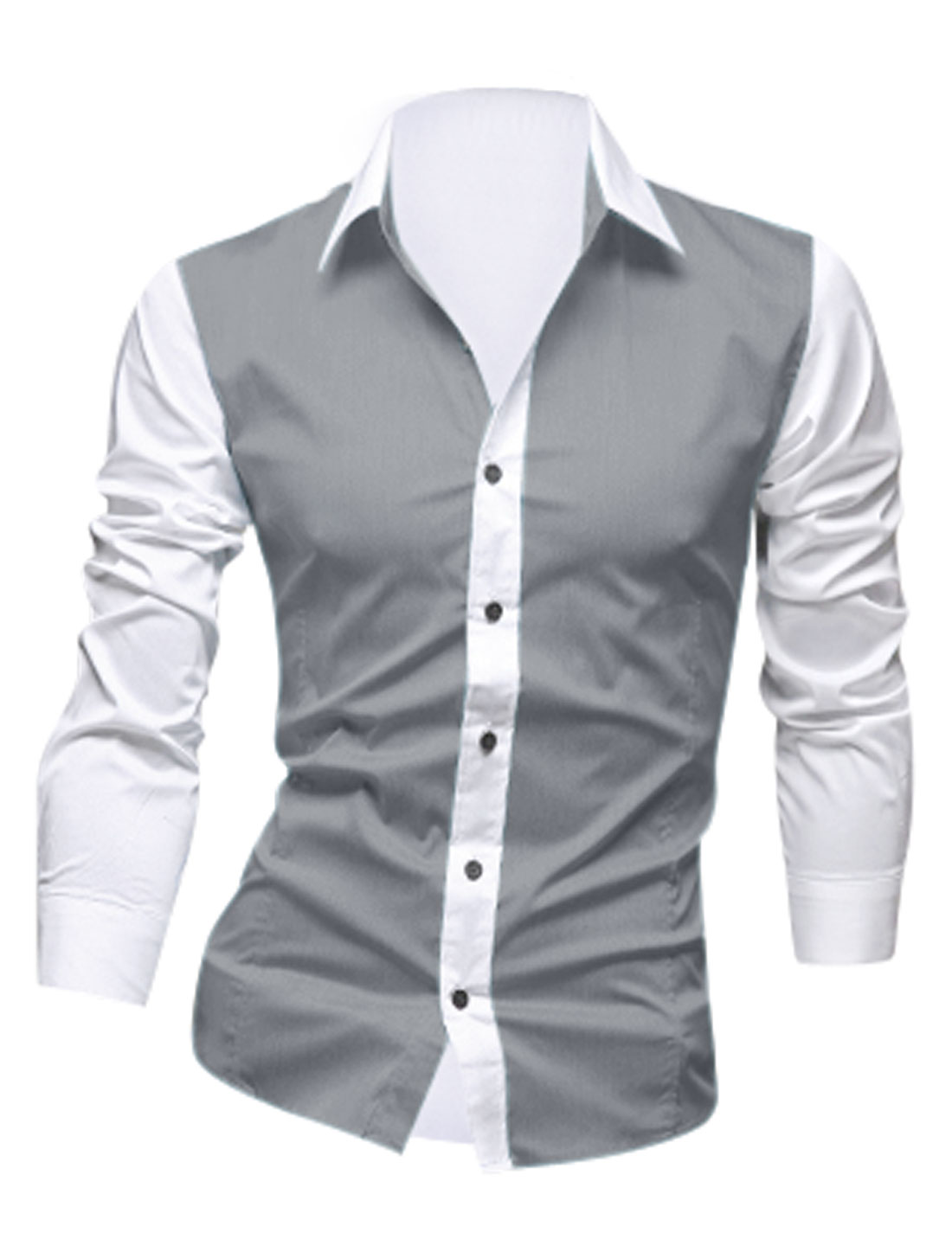 Man Point Collar Single Breasted Color Block Gray White Shirts M