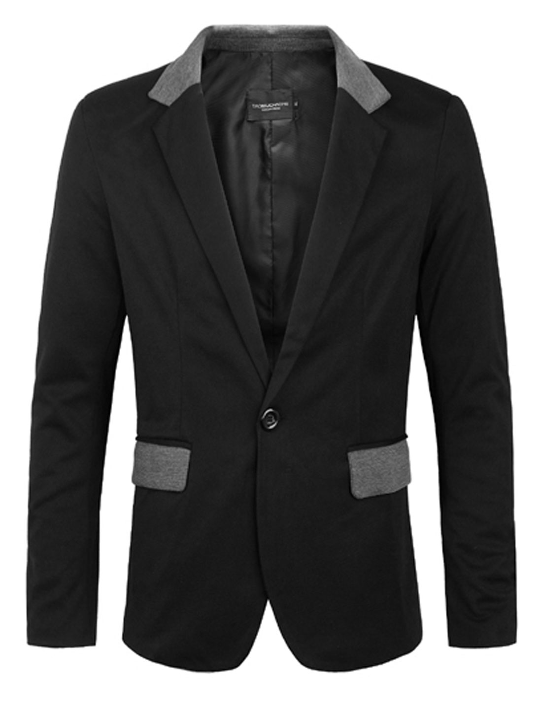 Men Notched Lapel One Button Front Blazer Jacket Black M