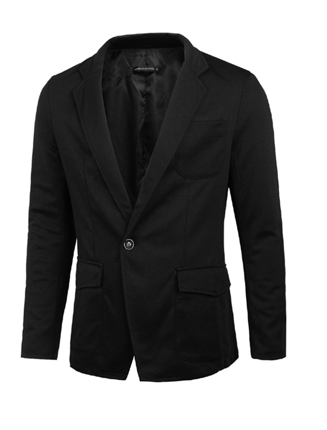 Men Notched Lapel One Button Closed Casual Blazer Jacket Black M