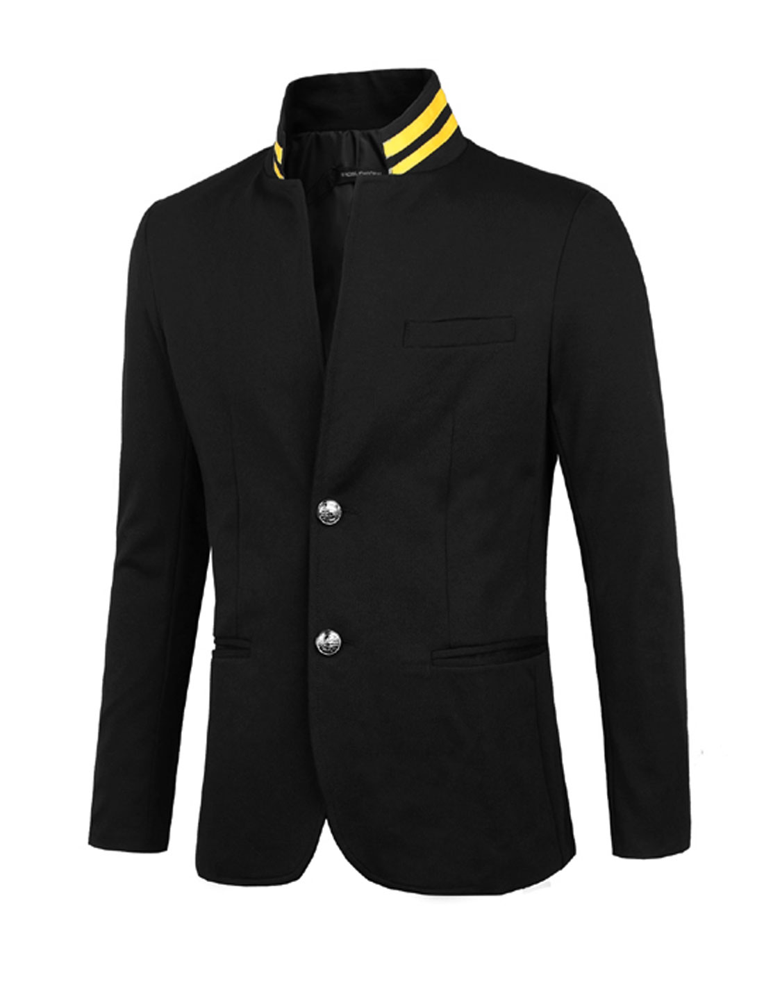 Men Convertible Collar Two Button Up Blazer Jacket Black S