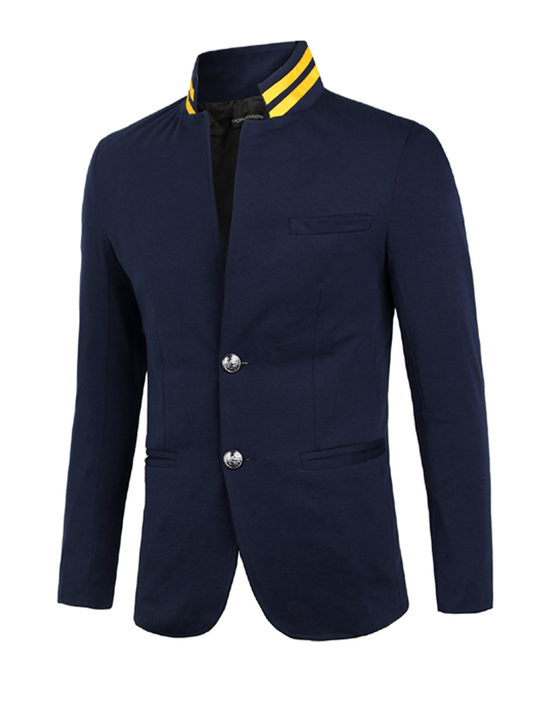 Man Long Sleeves One Button Closed Navy Blue Blazer Jacket S