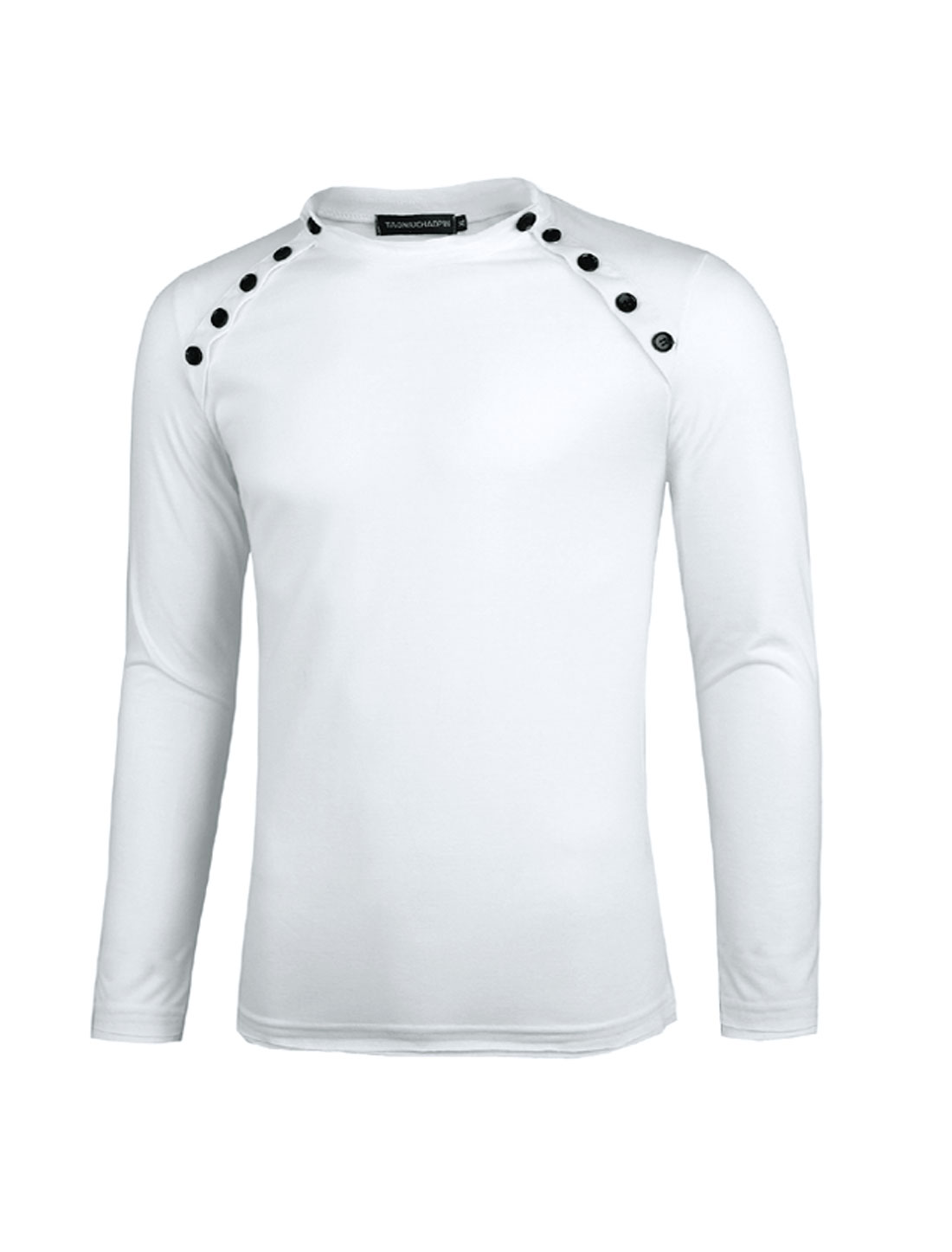 Man Long Sleeves Pullover Slim Fit Casual White Shirts S