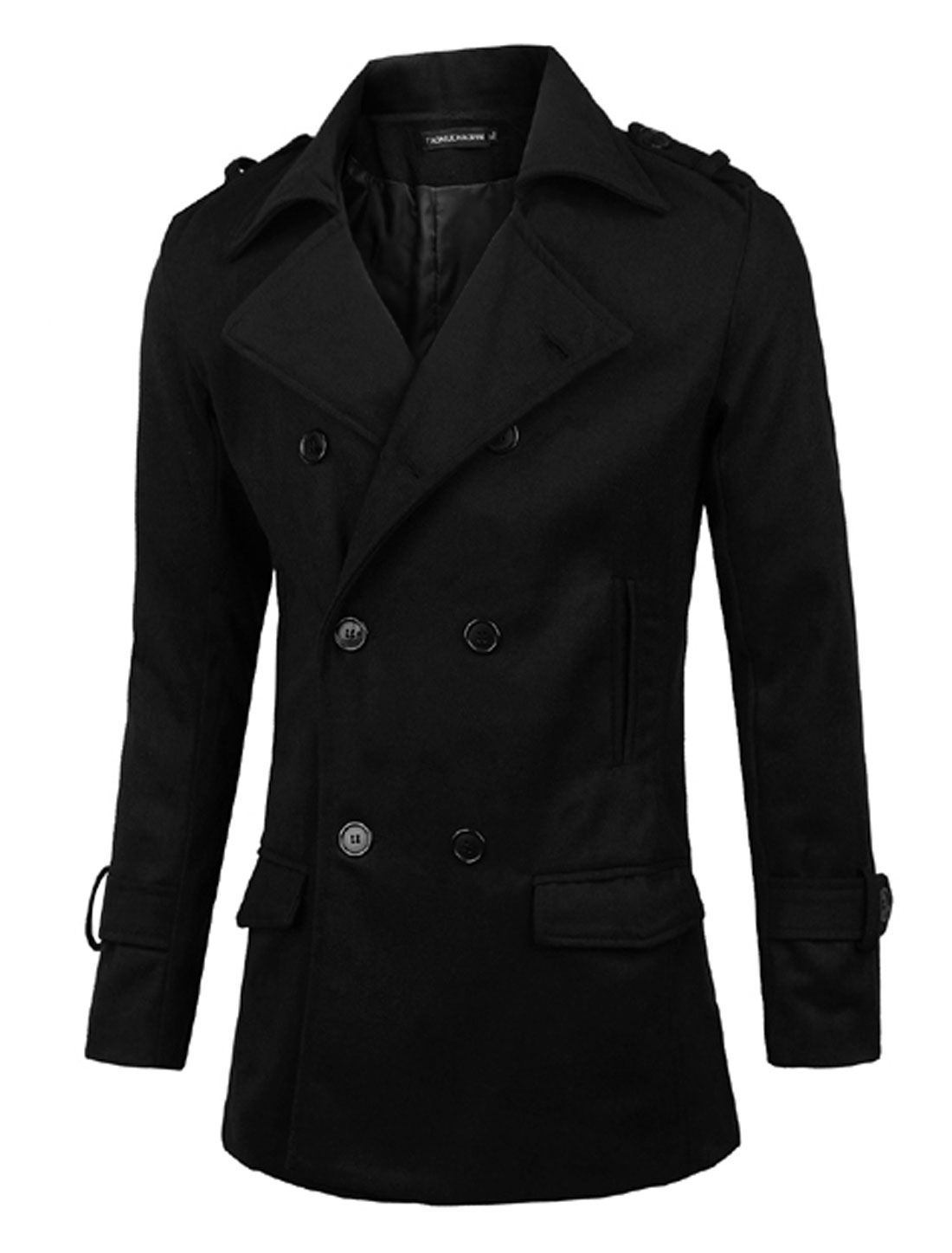 Men Convertible Collar Button Closed Trench Worsted Coat Black S