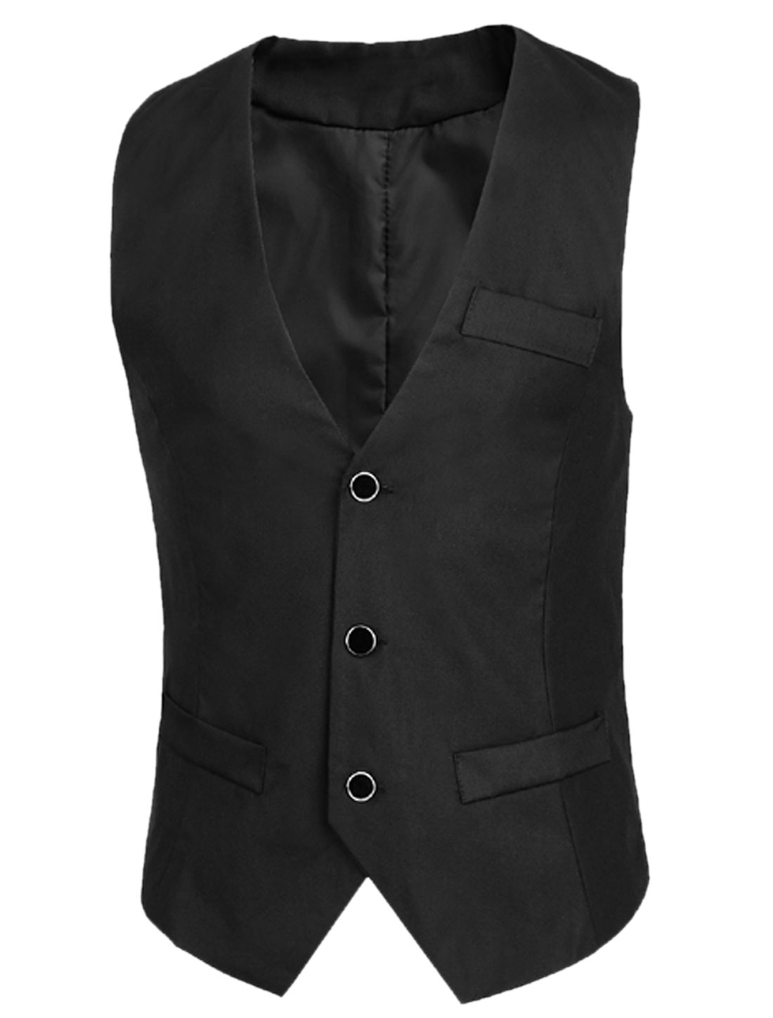 Deep V Neck Pockets Decor New Style Vest for Men Black M