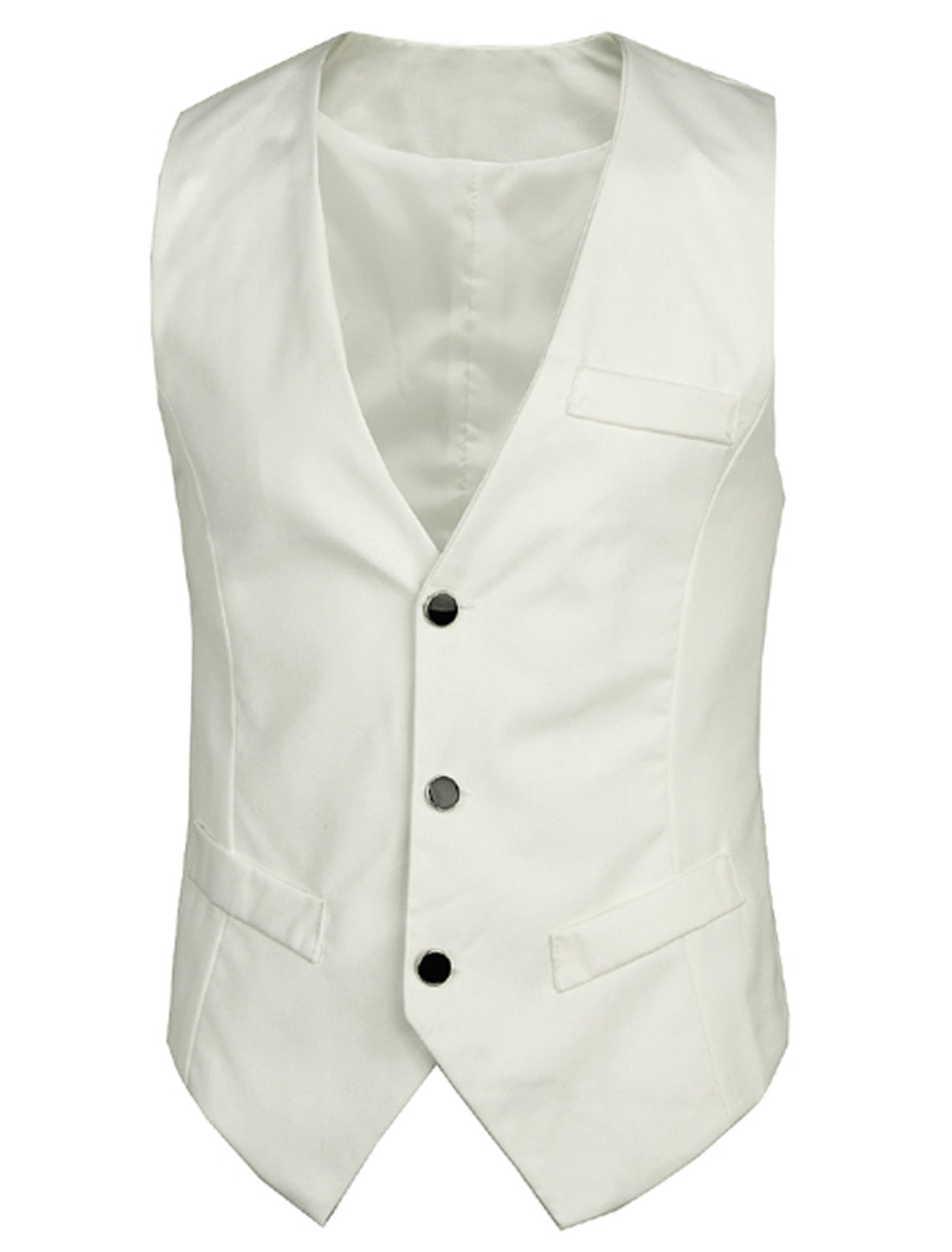 Sleeveless Deep V Neckline Trendy Vest for Men White M